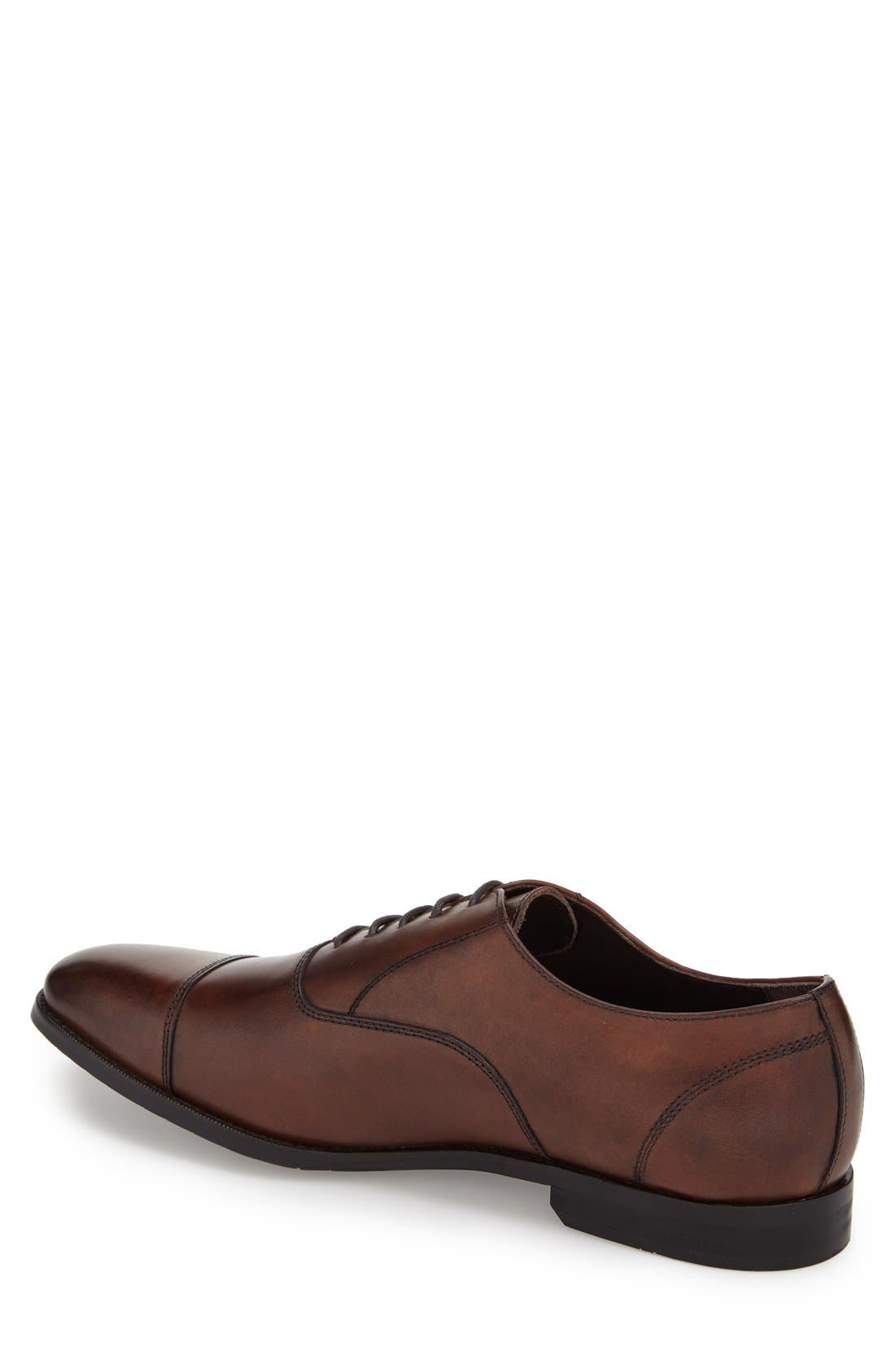 'Dillon' Cap Toe Oxford,                             Alternate thumbnail 2, color,                             Chestnut Leather