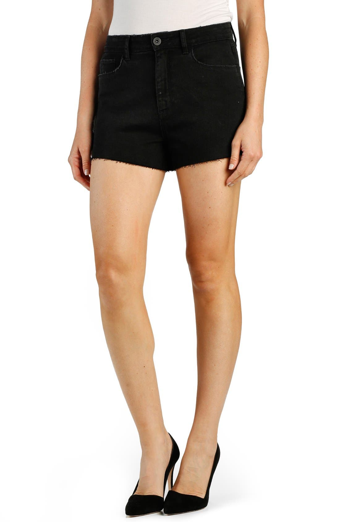 PAIGE 'Margot' High Rise Cutoff Denim Shorts (Vintage Black)