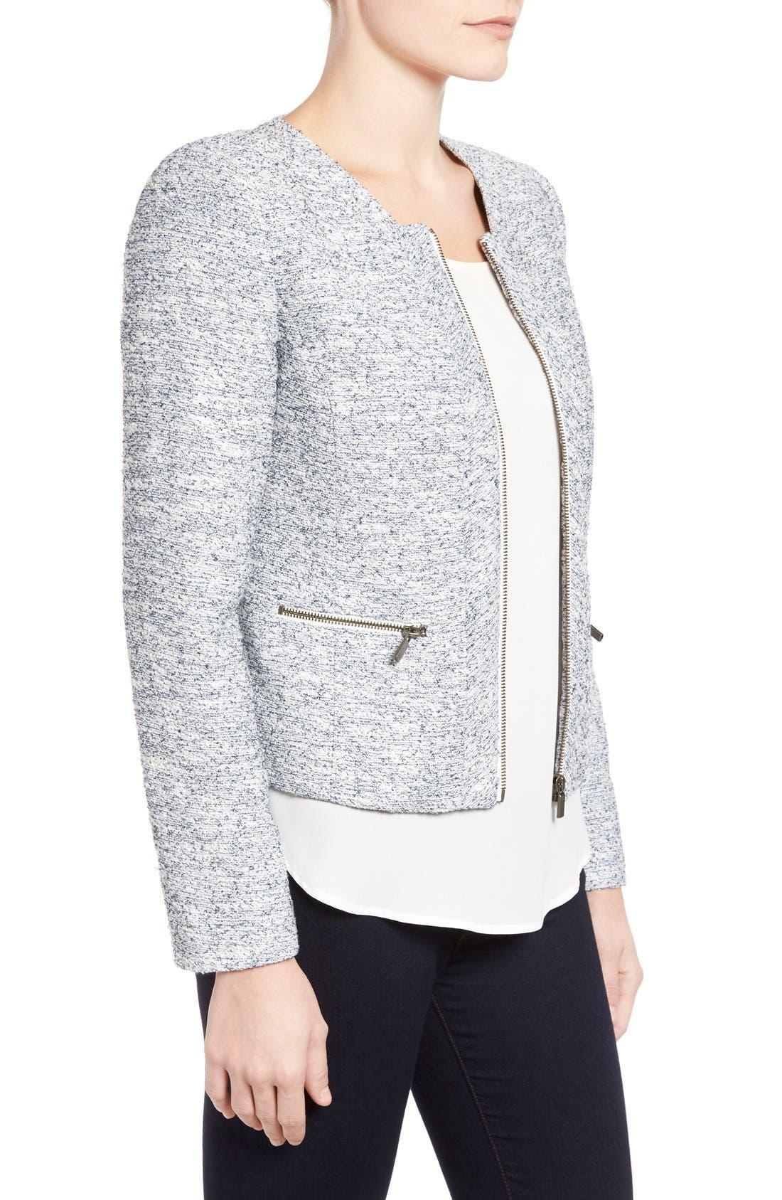 Alternate Image 3  - Halogen® Zip Front Collarless Jacket (Regular & Petite)