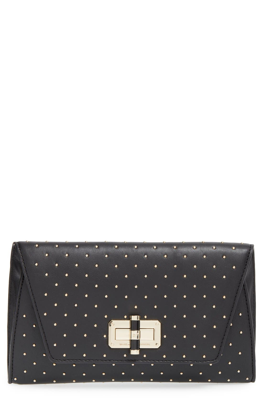 Main Image - Diane von Furstenberg '440 Glory Uptown' Studded Leather Clutch