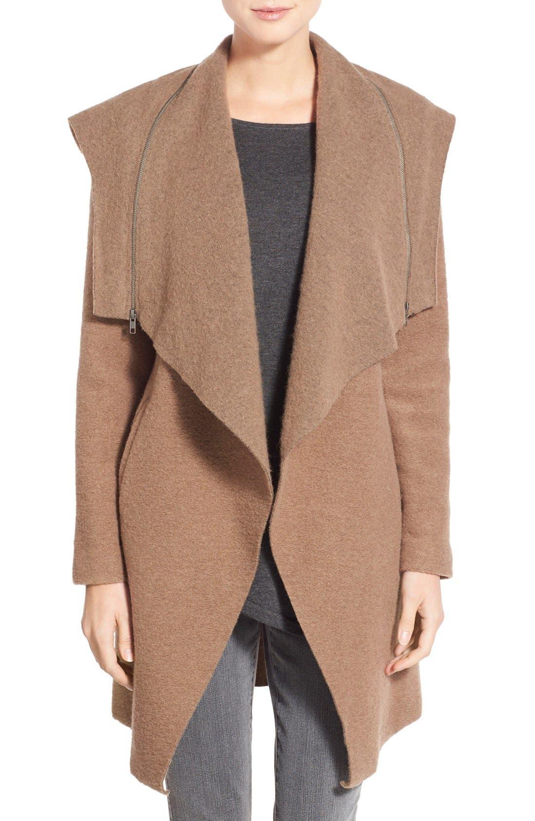 Alternate Image 1 Selected - BB Dakota 'Hudson' Zip Detail Hooded Drape Front Coat