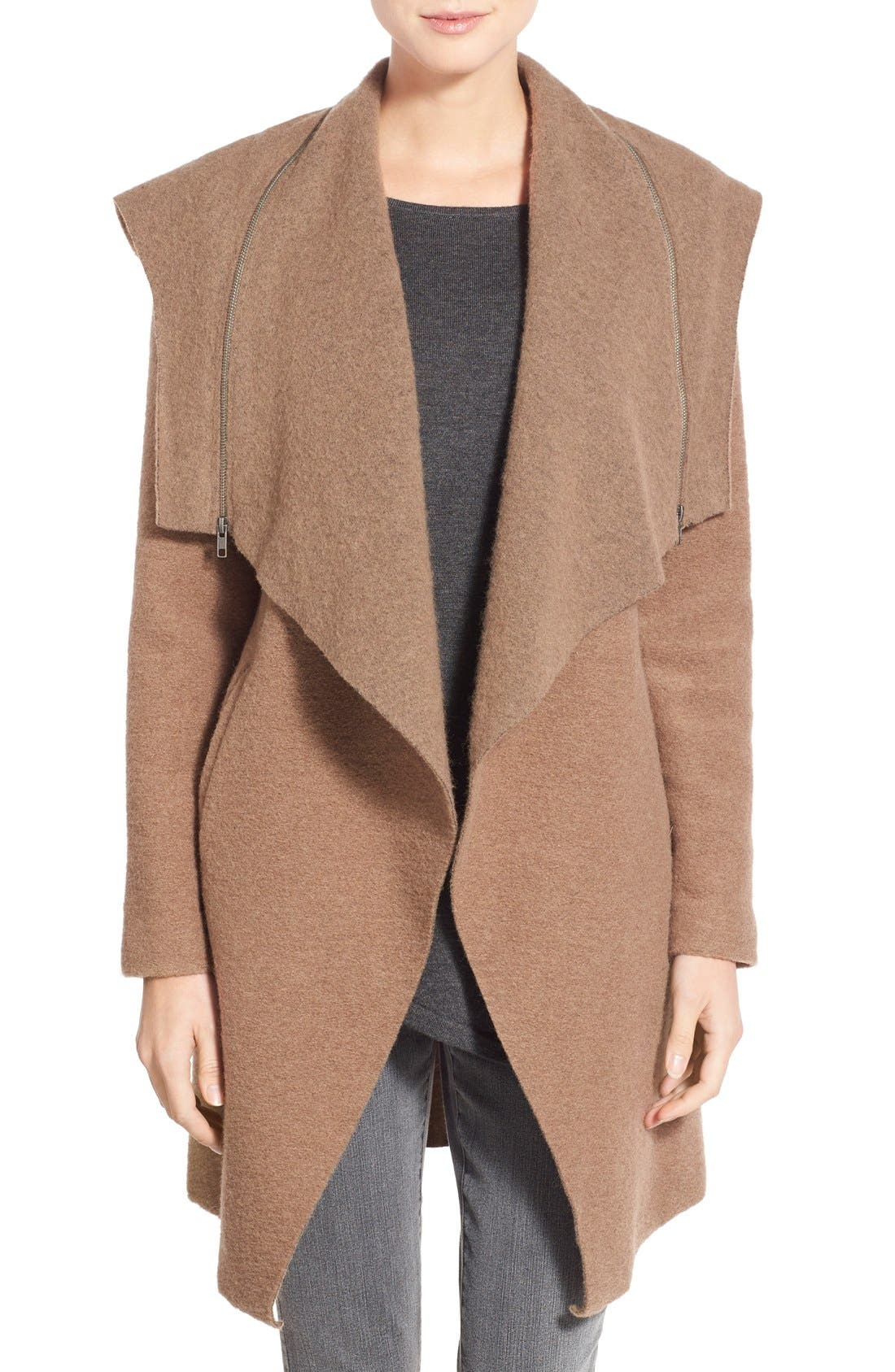 Main Image - BB Dakota 'Hudson' Zip Detail Hooded Drape Front Coat