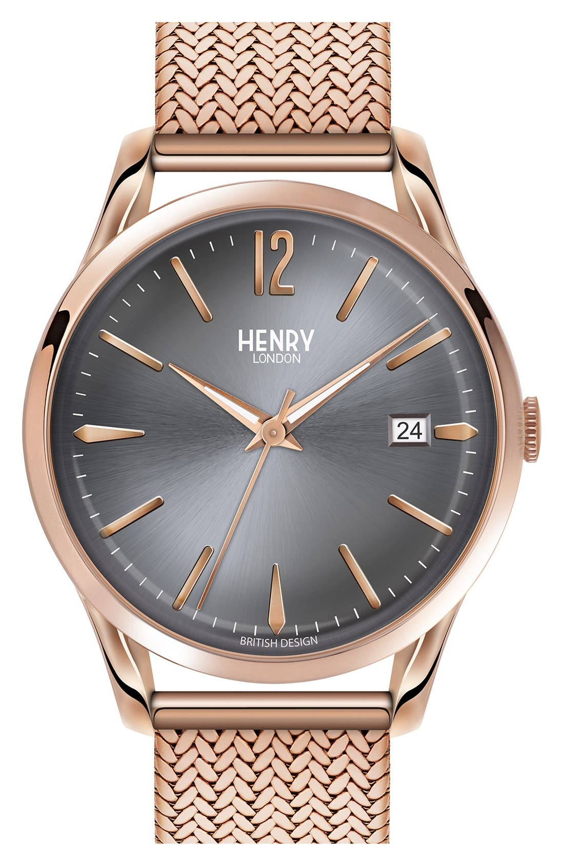 HENRY LONDON 'Finchley' Analog Mesh Strap Watch, 38Mm in Rose Gold/ Slate Grey
