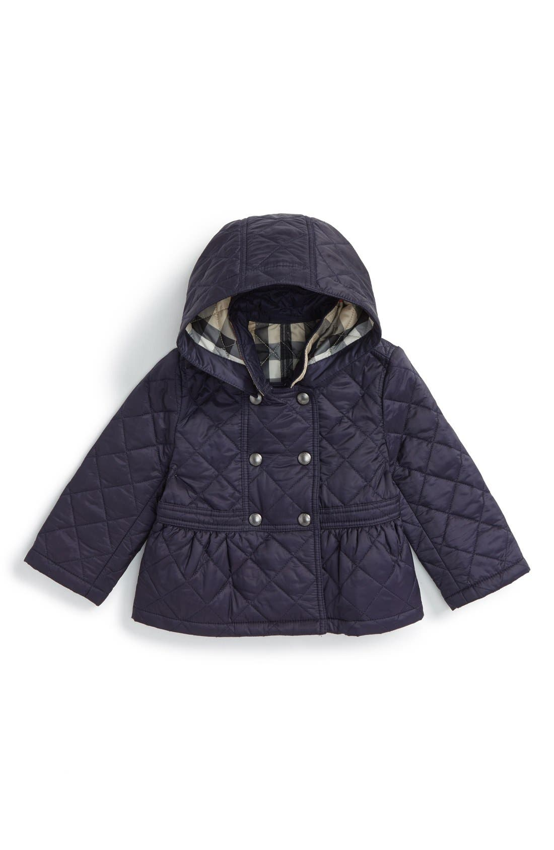 Burberry 'Portree' Hooded Quilted Jacket (Baby Girls)
