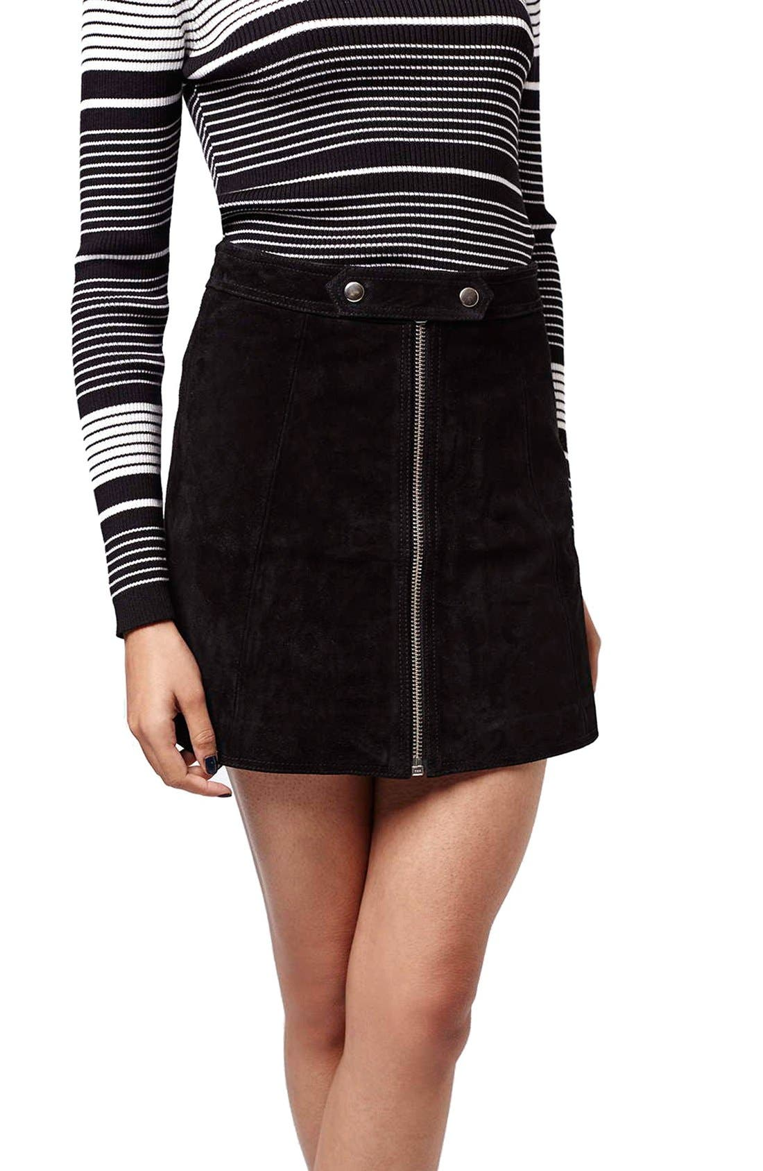 Main Image - Topshop Button Tab Suede Skirt