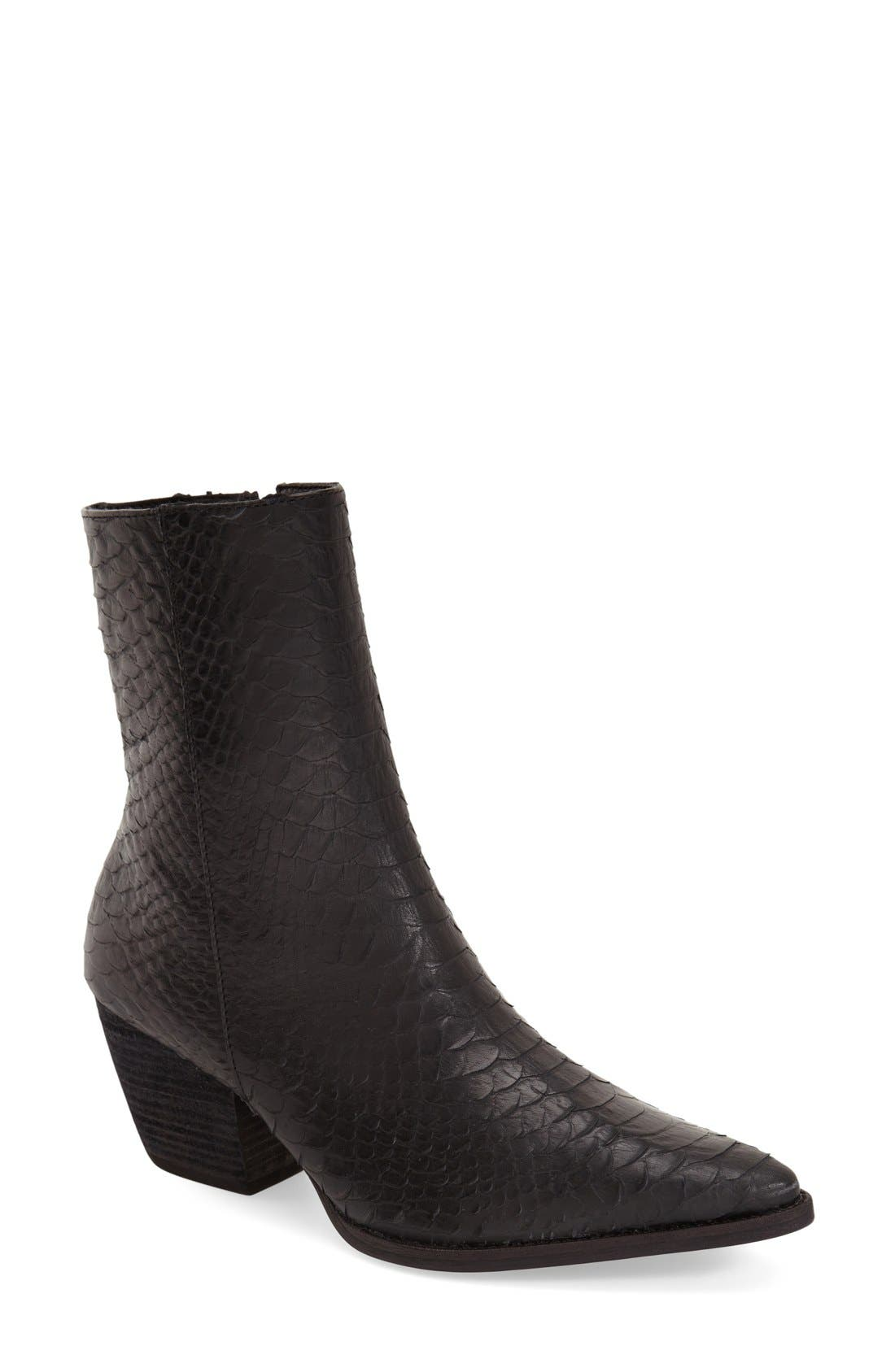 MATISSE Caty Western Pointy Toe Bootie in Black Croc Embossed Leather