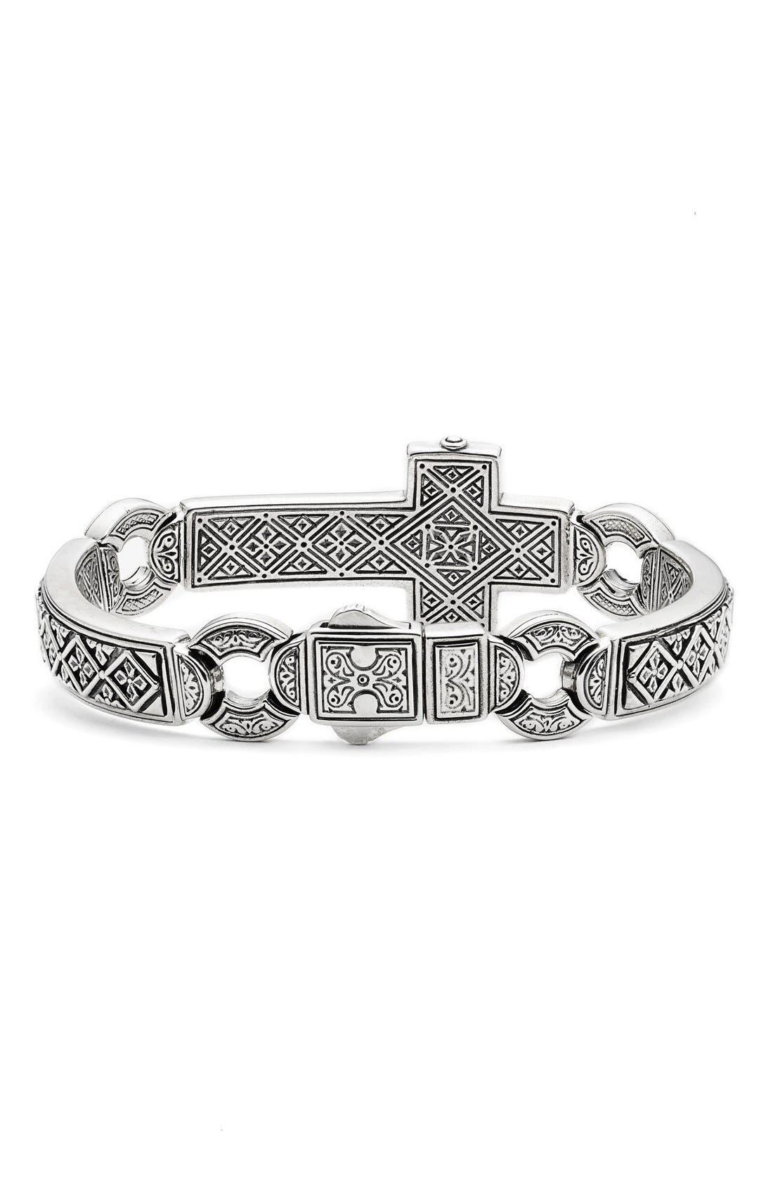 'Silver Classics' Metal Cross Bracelet,                             Alternate thumbnail 2, color,                             Silver