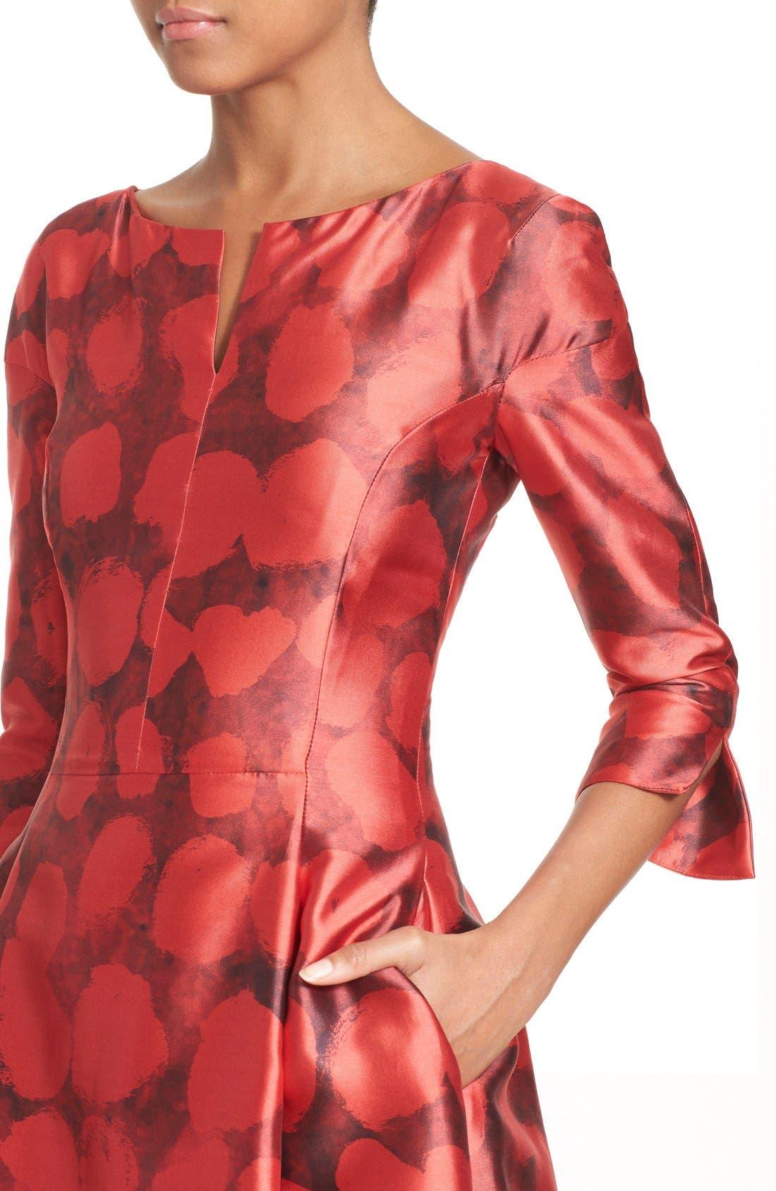 Alternate Image 6  - Oscar de la Renta Dot Print Silk & Cotton Dress