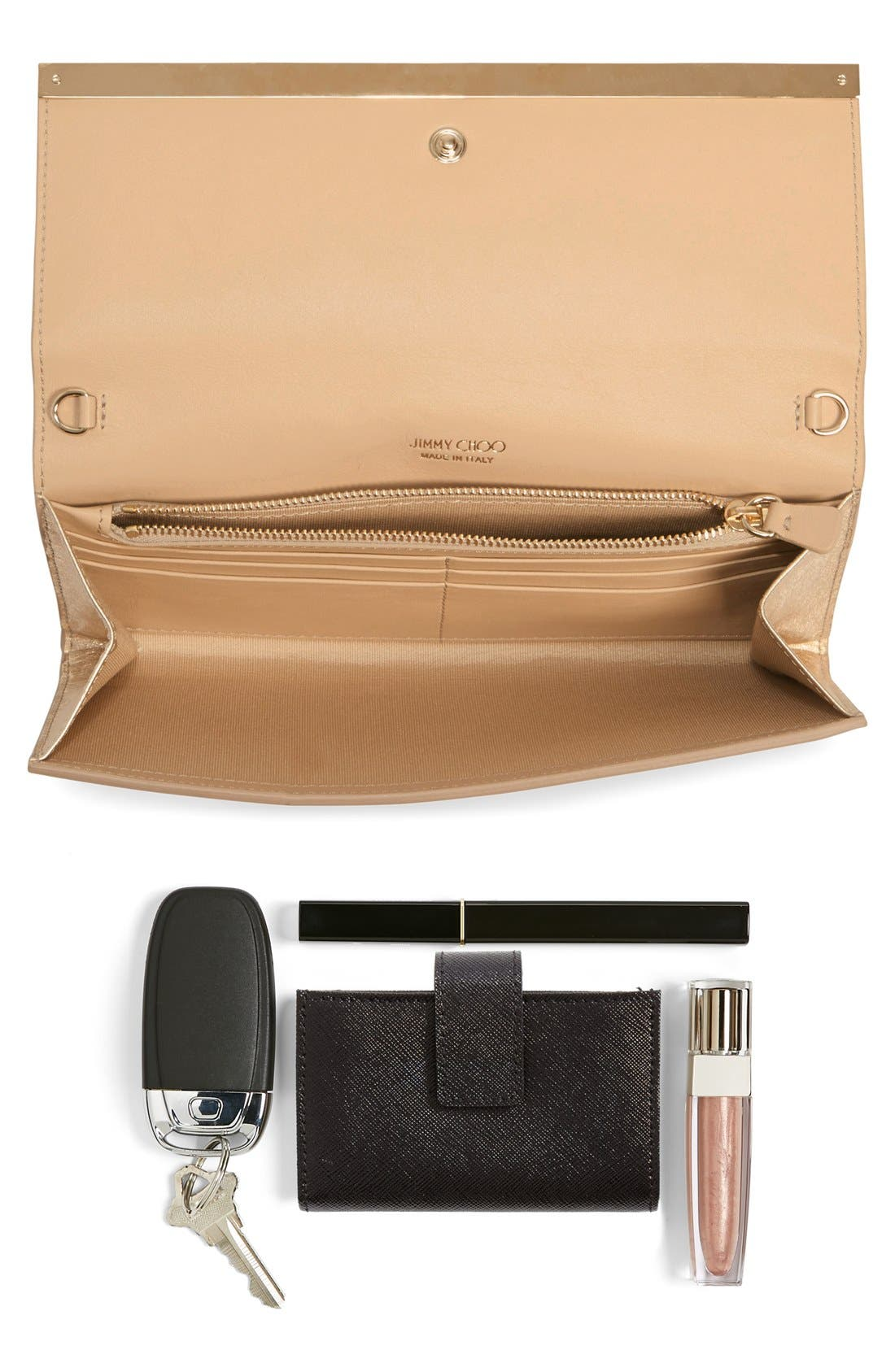 'Milla' Etched Metallic Spazzolato Leather Flap Clutch,                             Alternate thumbnail 7, color,                             Gold