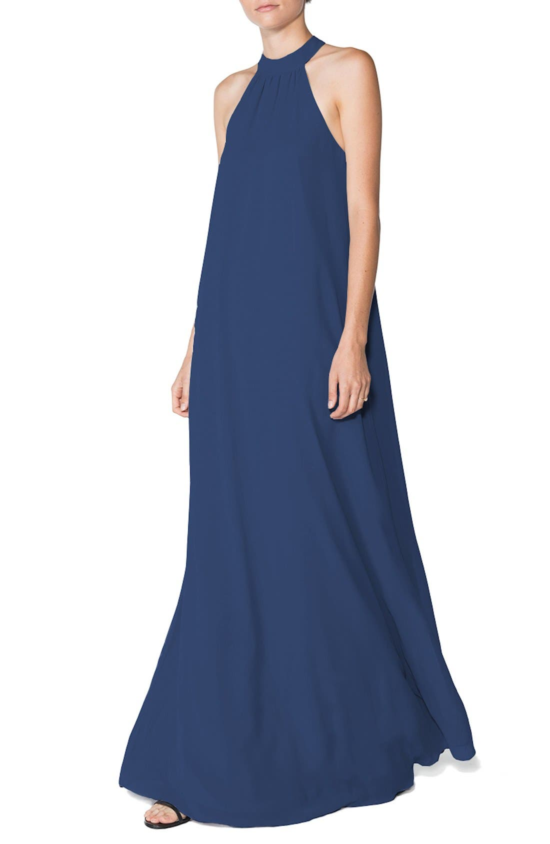 Ceremony by Joanna August 'Elena' Halter Style Chiffon A-Line Gown