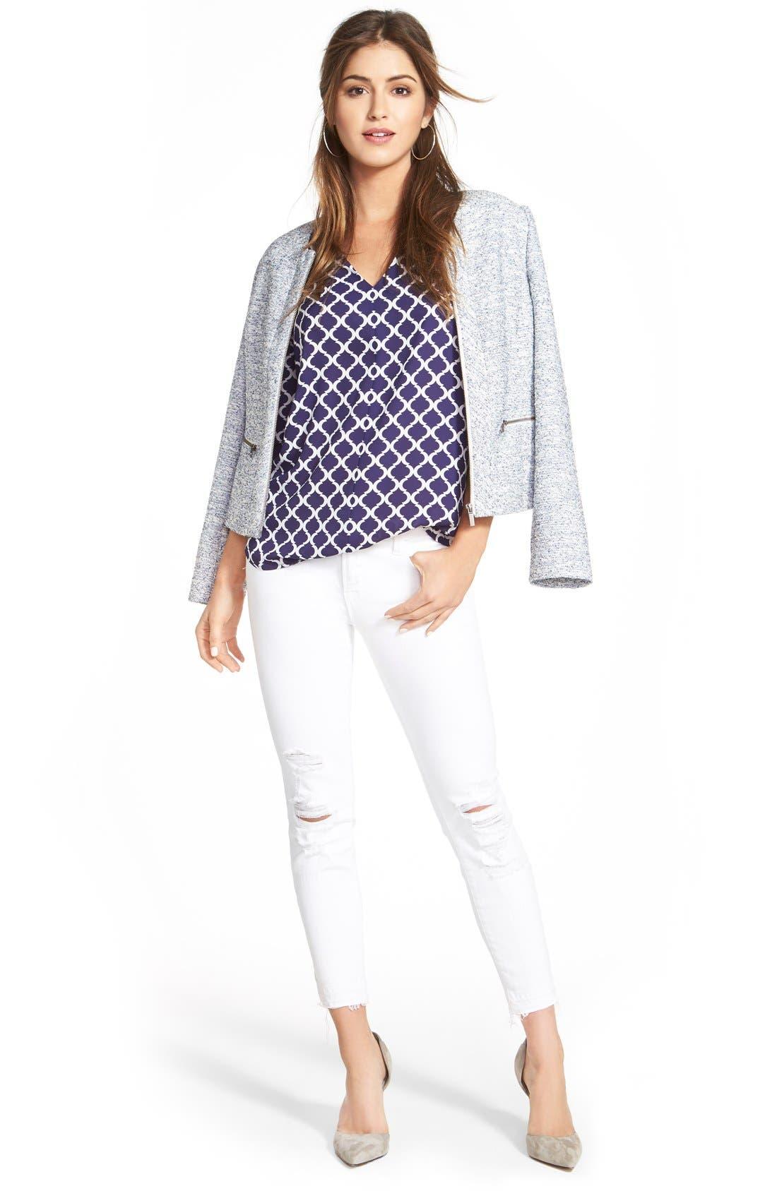 Alternate Image 6  - Halogen® Zip Front Collarless Jacket (Regular & Petite)