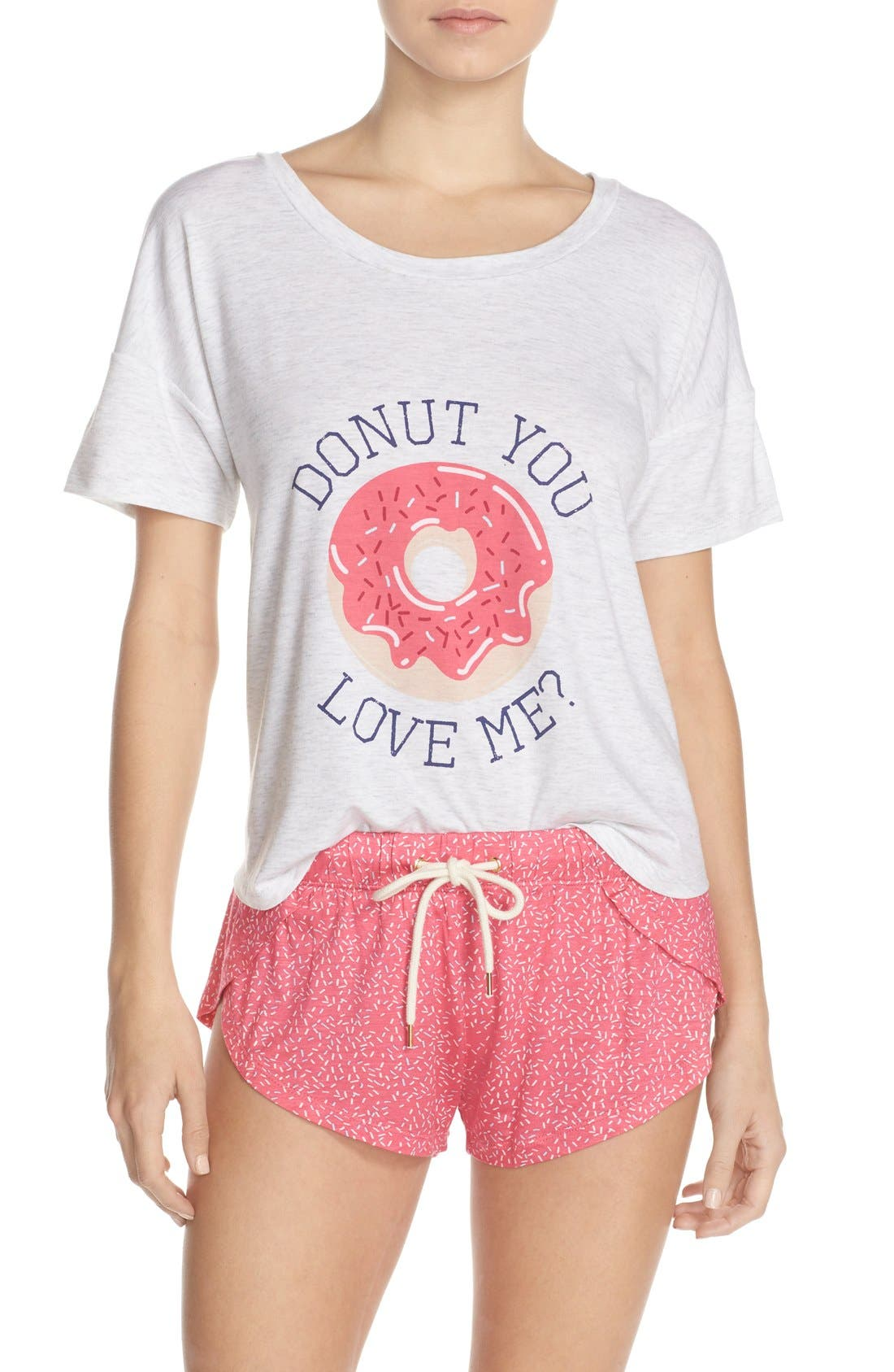 'Sleep All Day' Pajamas,                             Main thumbnail 1, color,                             Pink Donut