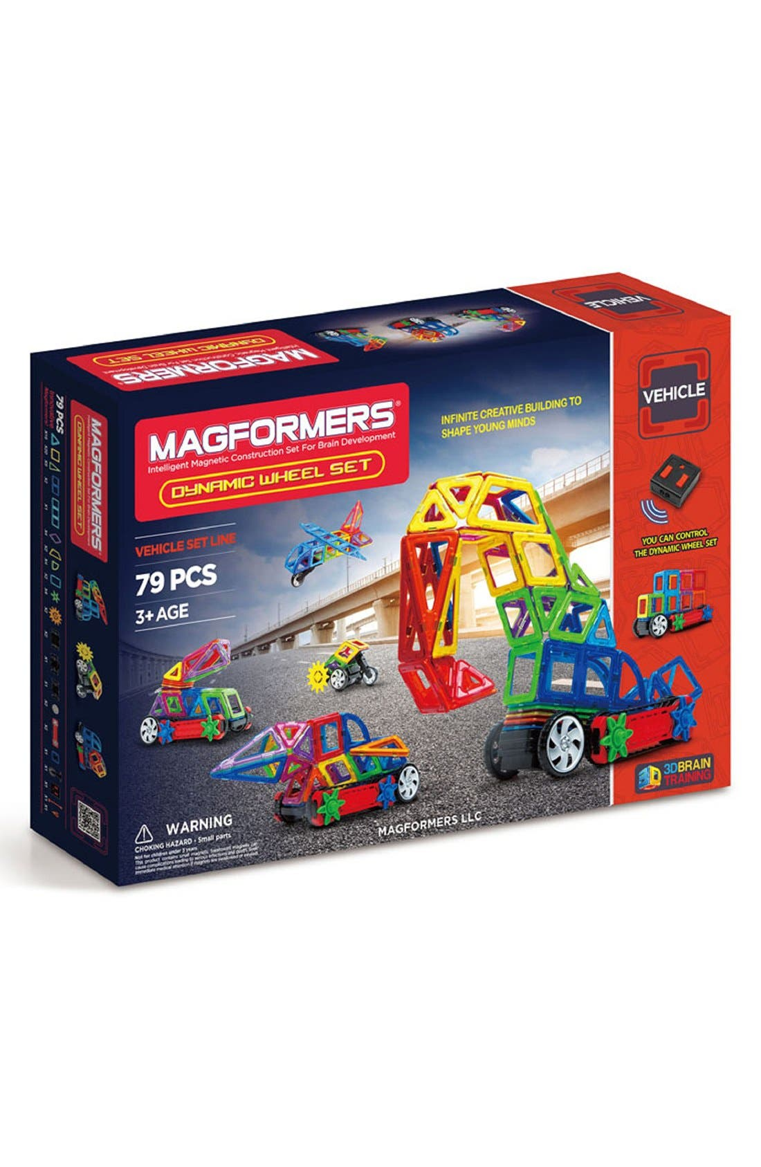 'Dynamic Wheel' Magnetic Remote Control Vehicle Construction Set,                             Main thumbnail 1, color,                             Rainbow