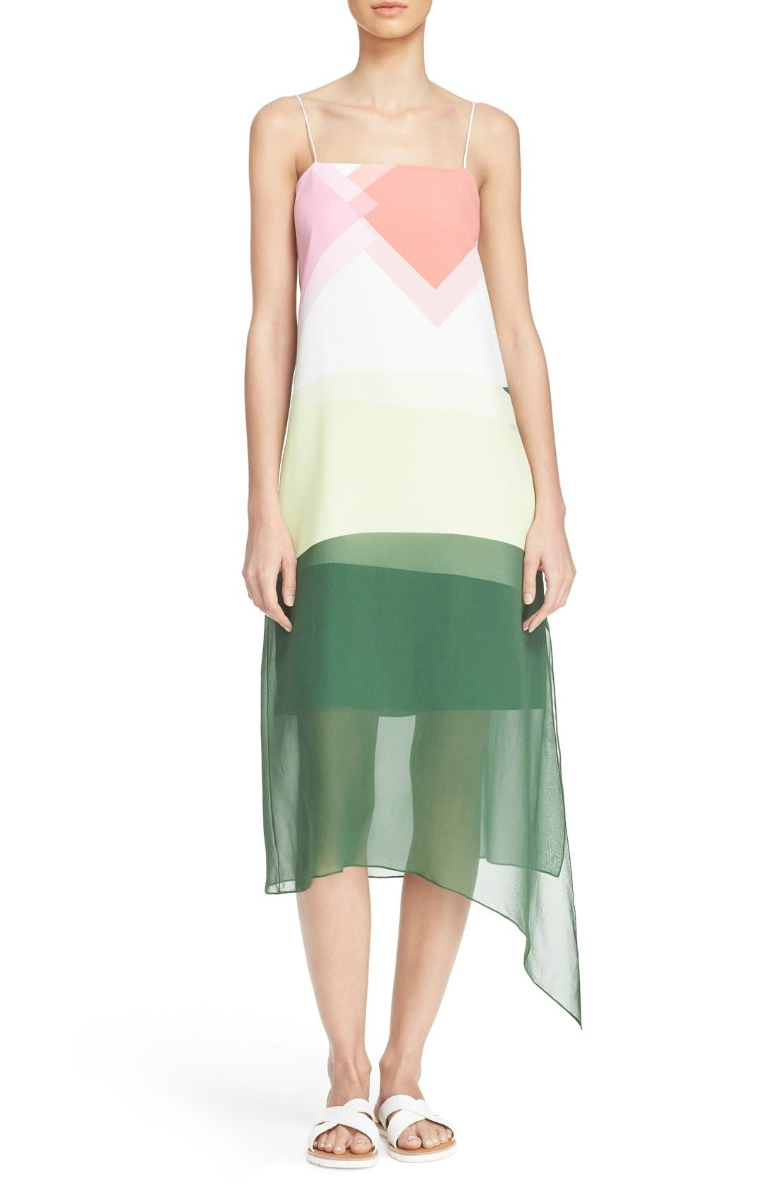'Pieza' Silk Slipdress,                             Main thumbnail 1, color,                             Candy Pink Mul