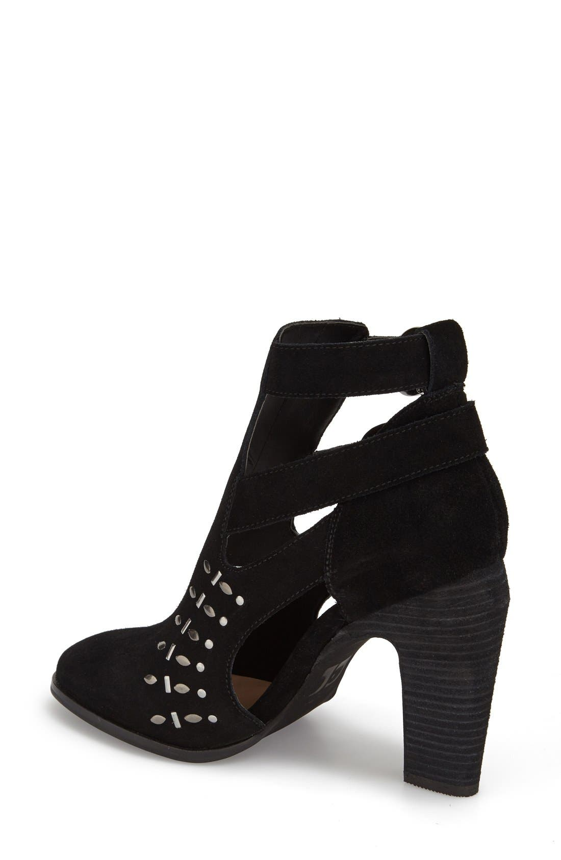'Kicks' Bootie,                             Alternate thumbnail 2, color,                             Black Suede