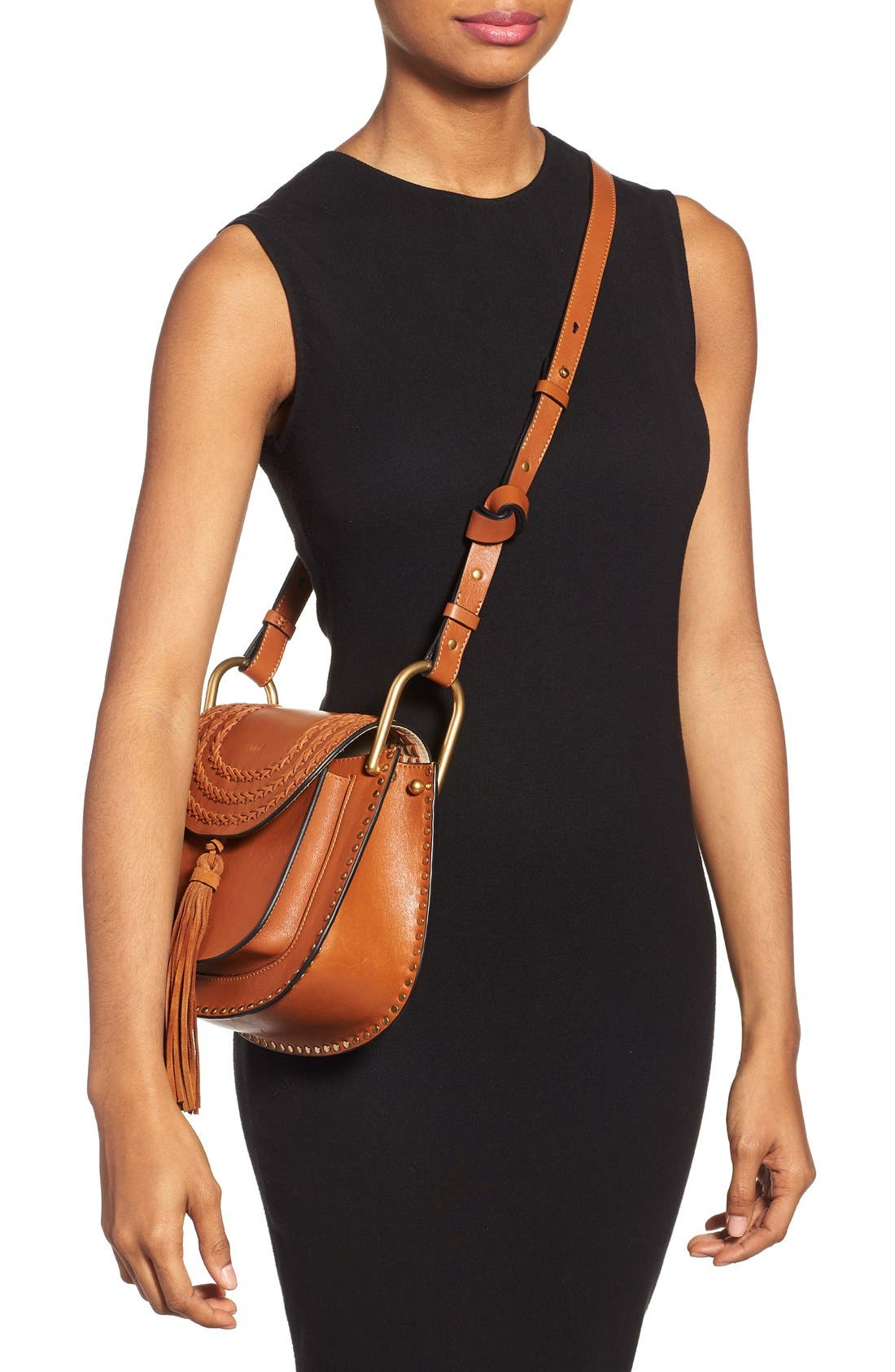 'Small Hudson' Studded Calfskin Leather Crossbody Bag,                             Alternate thumbnail 3, color,                             Caramel