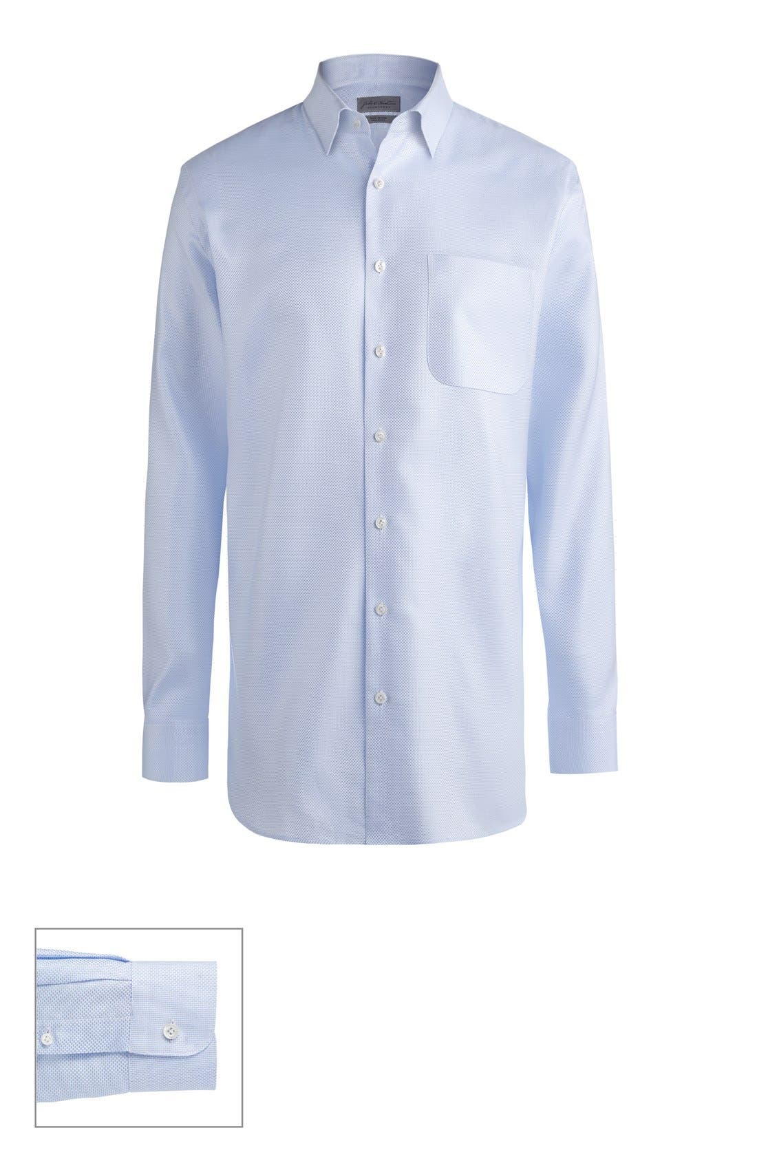 Made to Measure Extra Trim Fit Straight Collar Dobby Dress Shirt,                         Main,                         color, Blue Micro Basket Weave