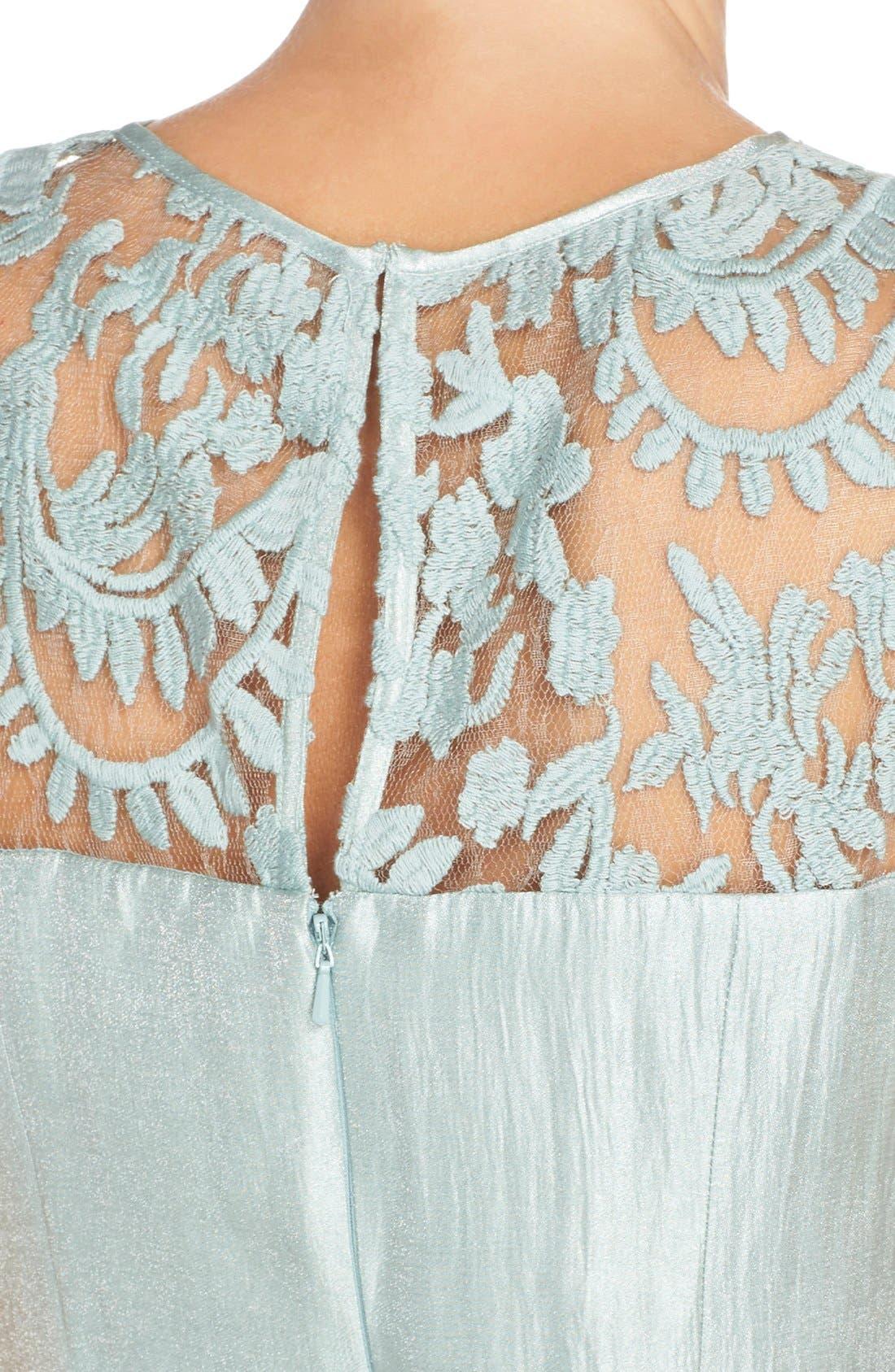 Alternate Image 5  - Adrianna PapellEmbroidered Lace Illusion Yoke Sheath Dress &Topper (Regular & Petite)