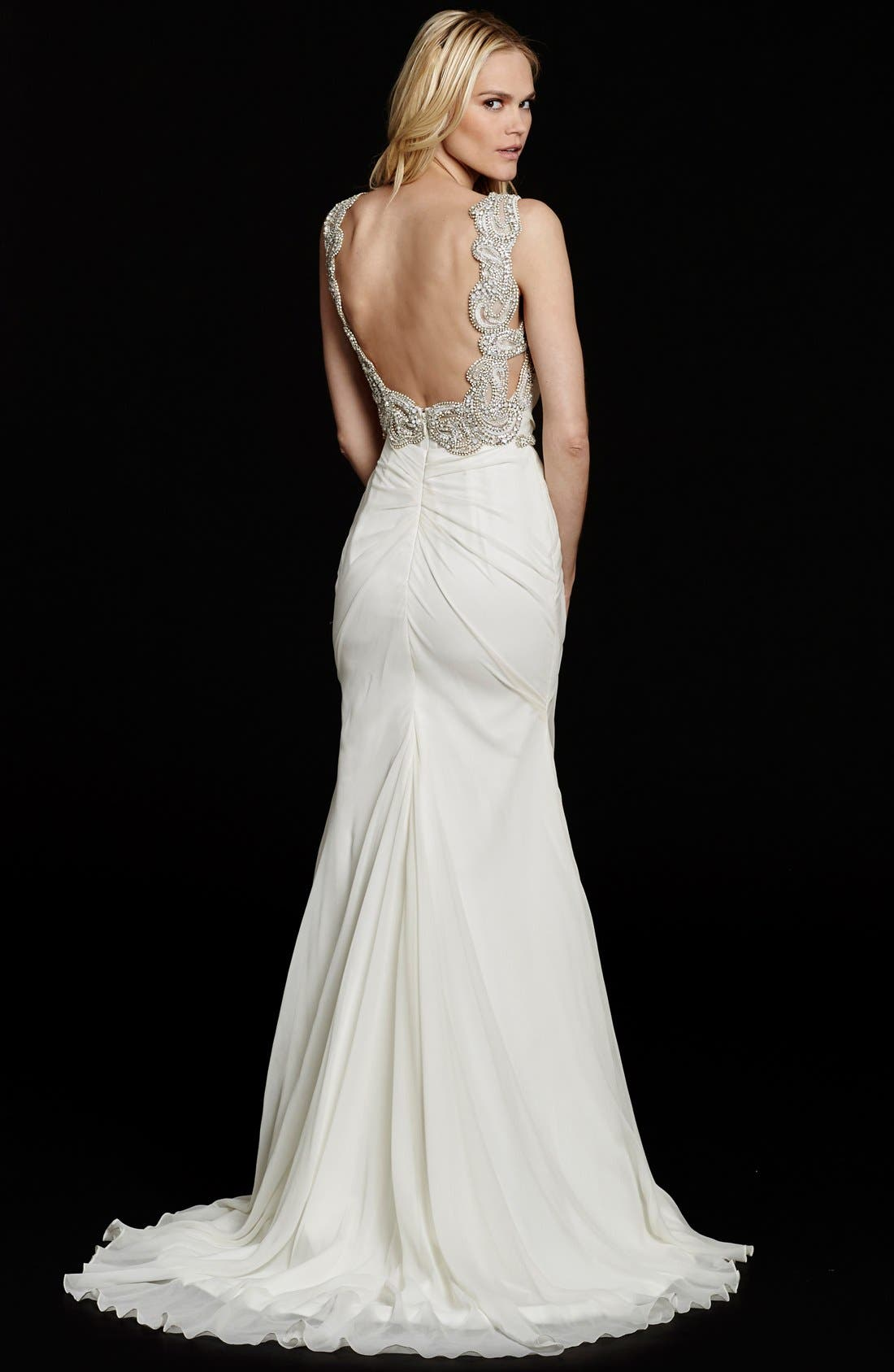 Alternate Image 2  - Hayley Paige Portia Embellished Open Back Chiffon Gown