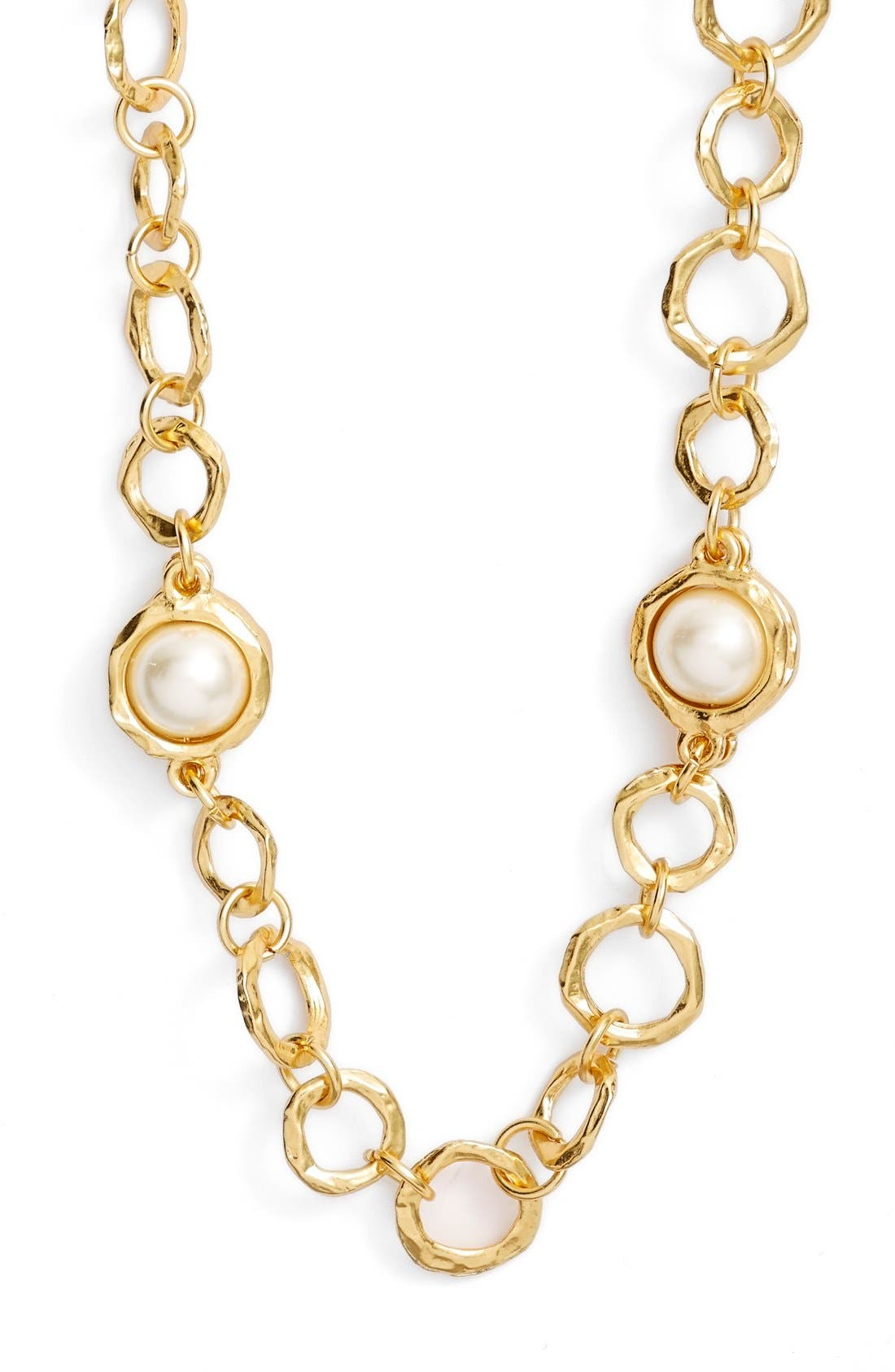 Long Imitation Pearl Necklace,                             Alternate thumbnail 2, color,                             Gold