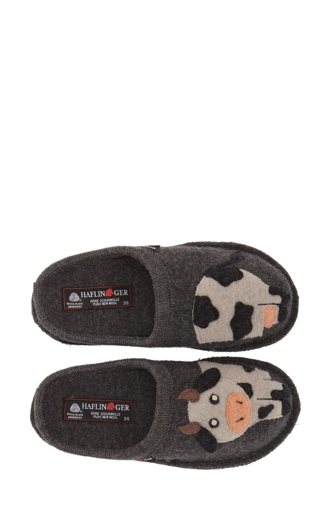 'Cow' Slipper,                             Alternate thumbnail 3, color,                             Grey Wool
