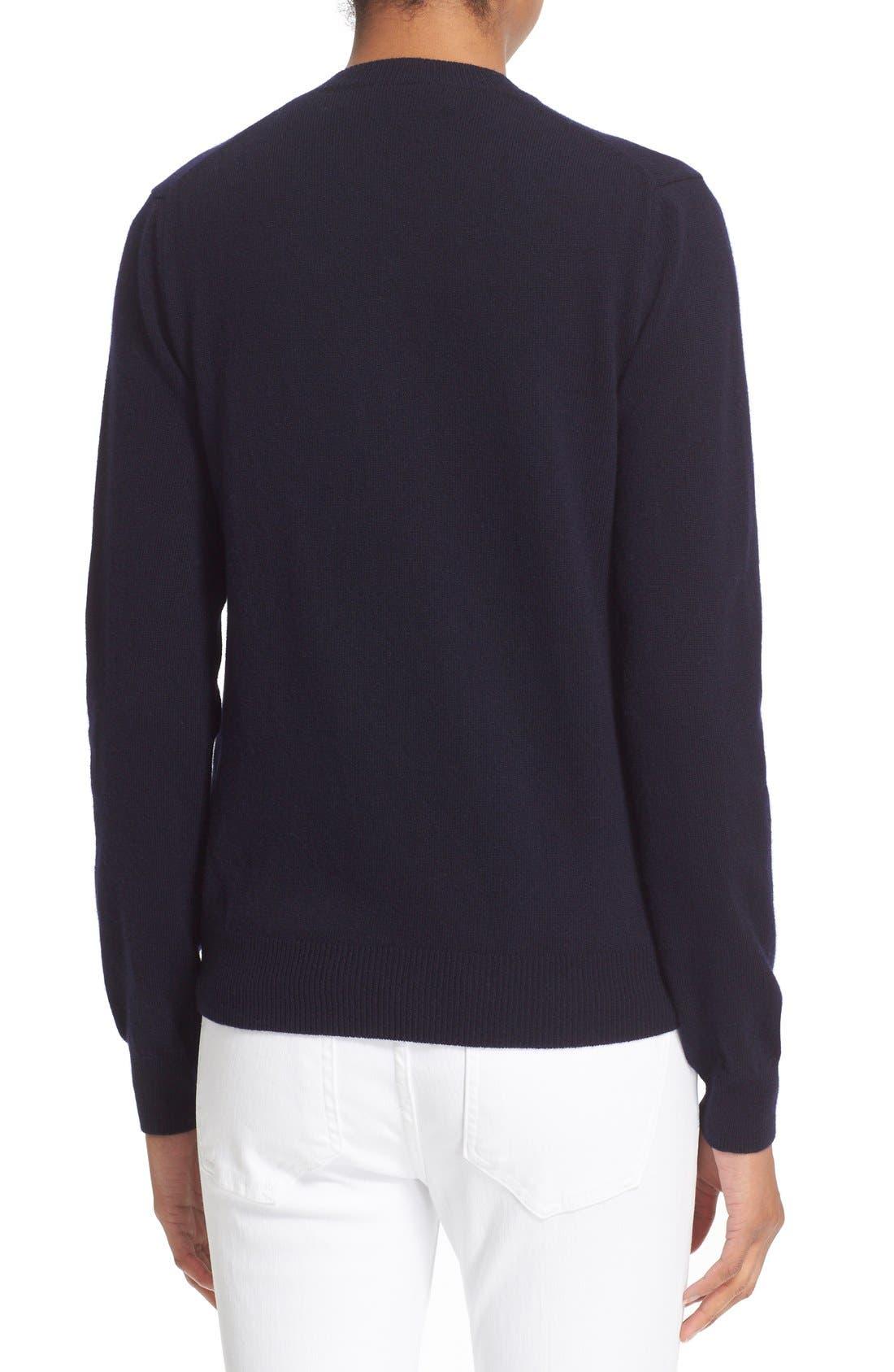 Comme des Garçons 'Play' Wool V-Neck Pullover,                             Alternate thumbnail 2, color,                             Navy