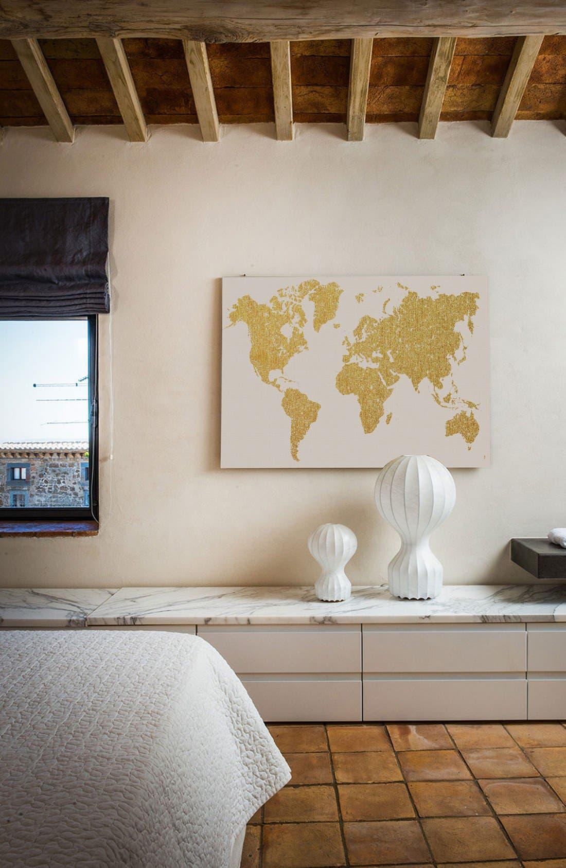 'Gold Map' Giclée Print Canvas Art,                             Alternate thumbnail 2, color,                             Metallic Gold