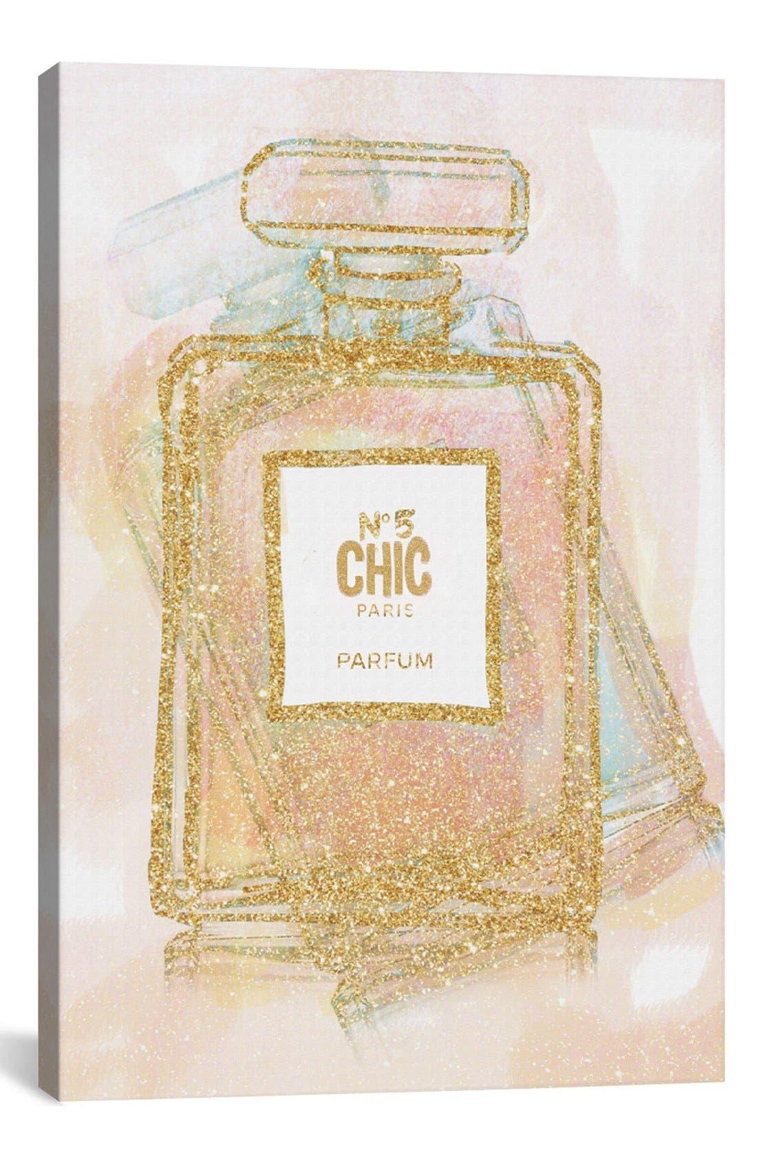 'Chic Bottle I' Giclée Print Canvas Art,                         Main,                         color, Metallic Gold