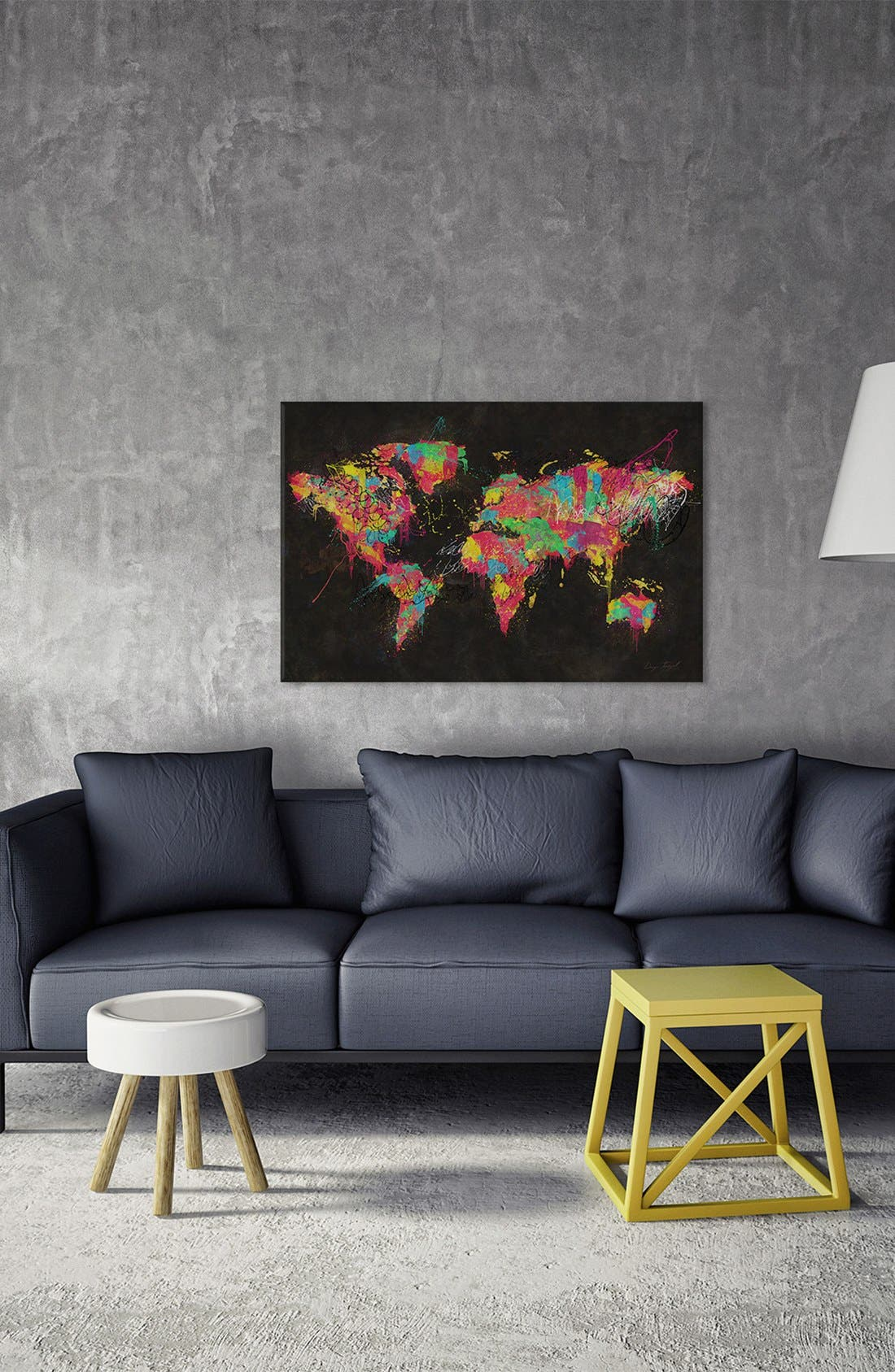 'Continents' Giclée Print Canvas Art,                             Alternate thumbnail 2, color,                             Black