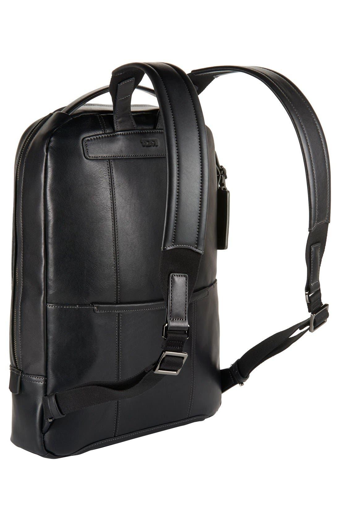 'Harrison - Bates' Leather Backpack,                             Alternate thumbnail 3, color,                             Black