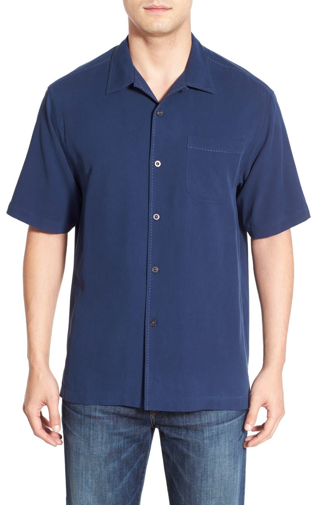 'Catalina Twill' Original Fit Silk Camp Shirt,                             Main thumbnail 1, color,                             Navy
