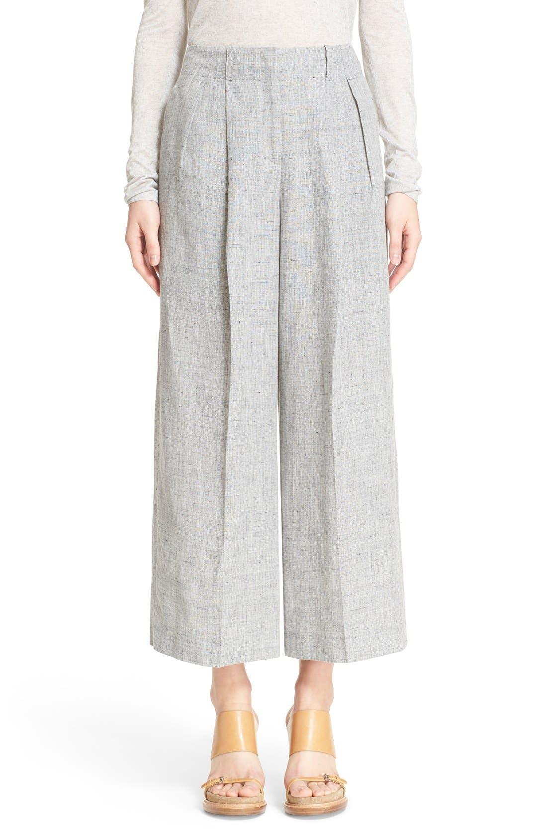 Main Image - Michael Kors Pleated Crop Mélange Linen Pants