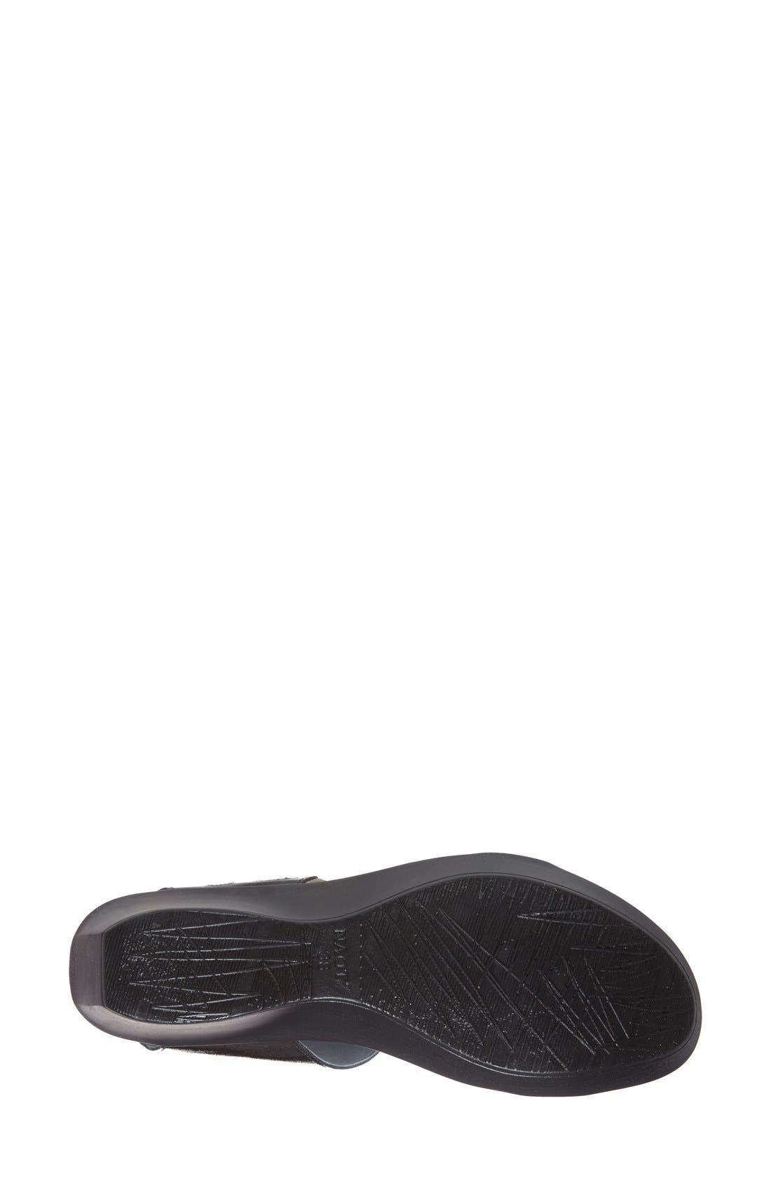 'Intrigue' Platform Wedge,                             Alternate thumbnail 4, color,                             Black Luster Leather