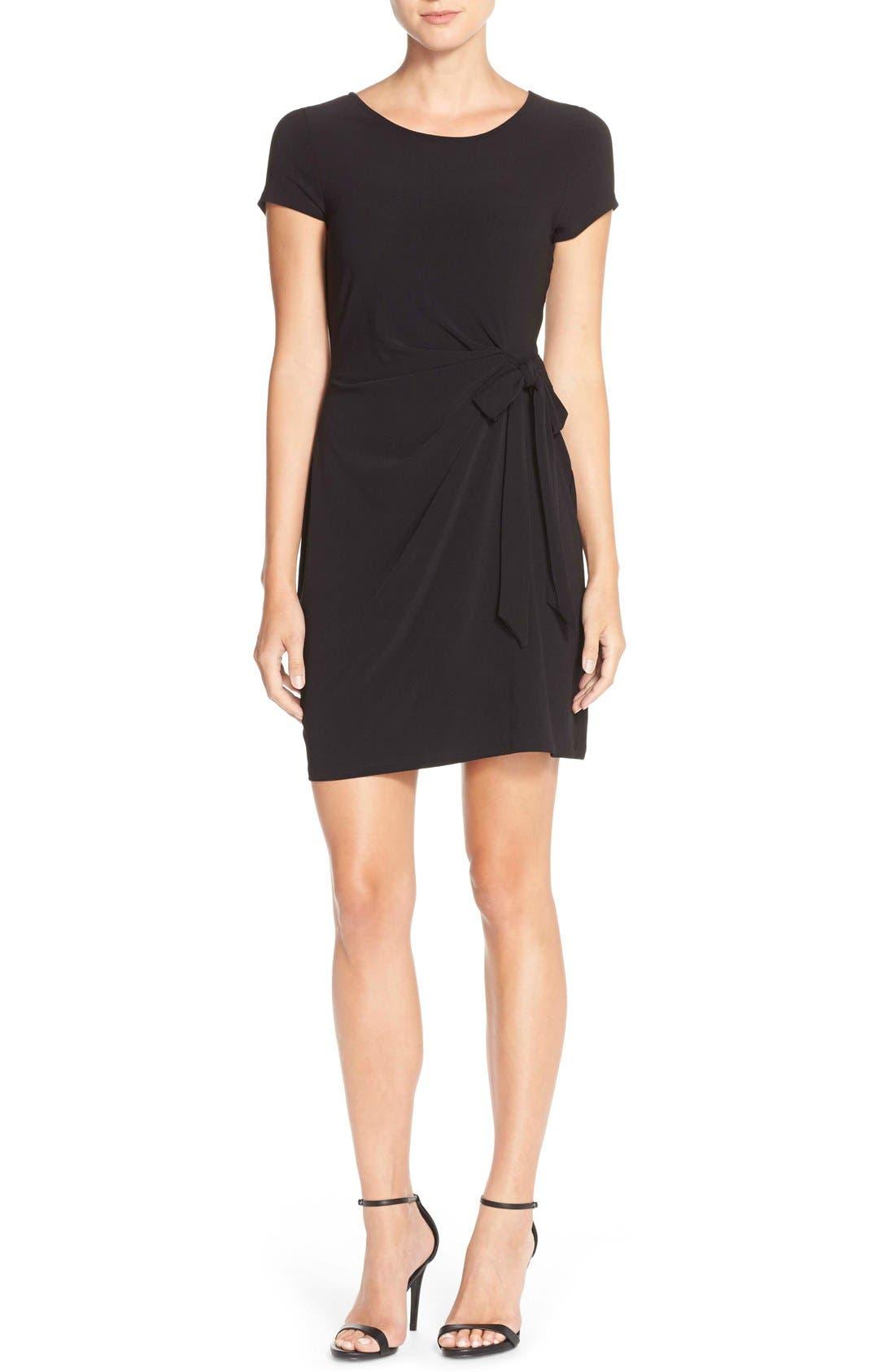 Side Tie Jersey Sheath Dress,                             Alternate thumbnail 4, color,                             Black