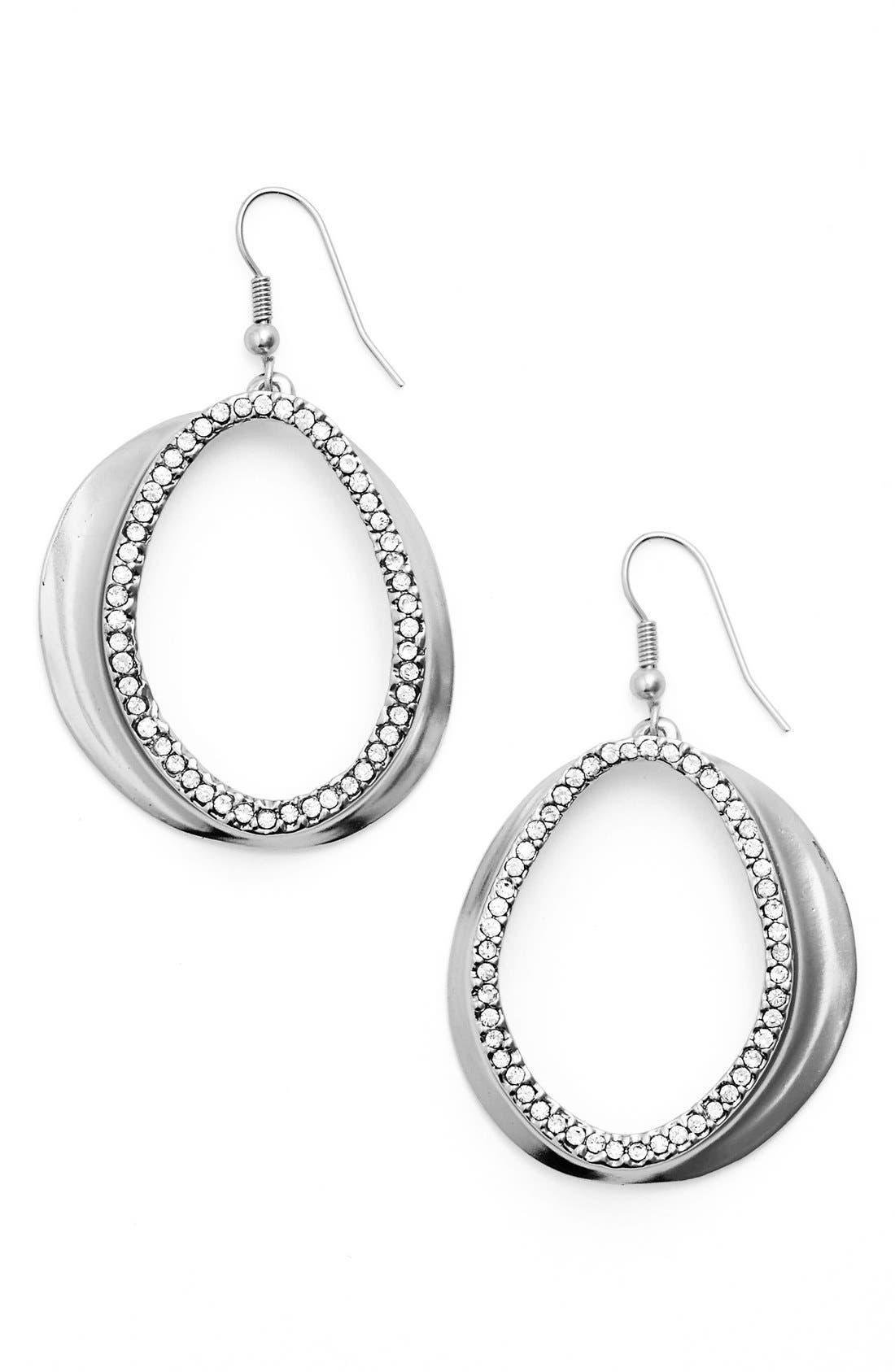 Crystal Front Hoop Earrings,                         Main,                         color, Silver