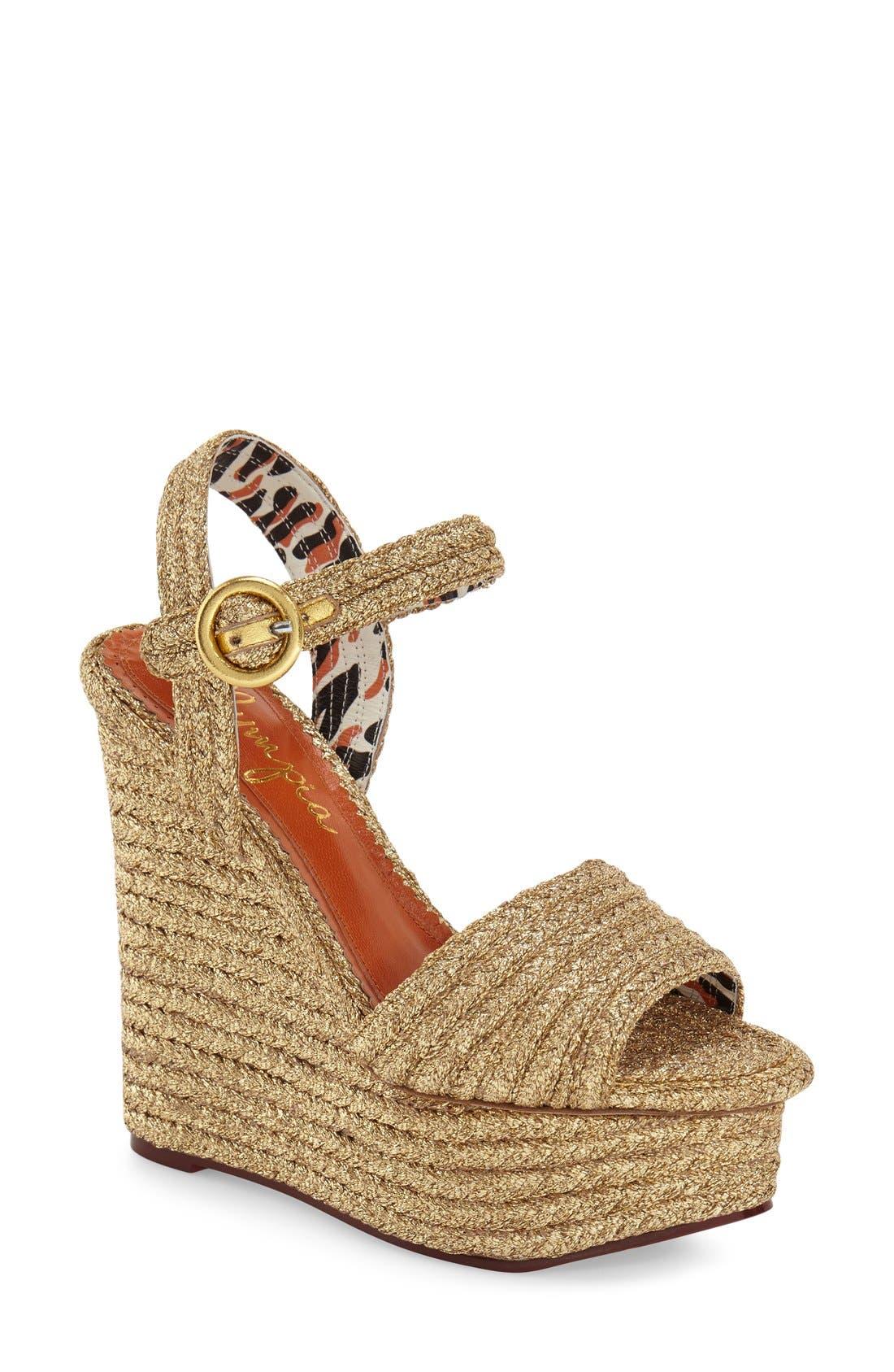 'Karen' Platform Wedge Sandal,                             Main thumbnail 1, color,                             Gold Raffia