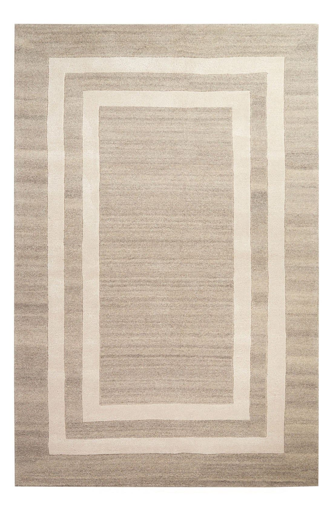'gramercy - border pattern' wool blend rug,                         Main,                         color, Grey/ Ivory
