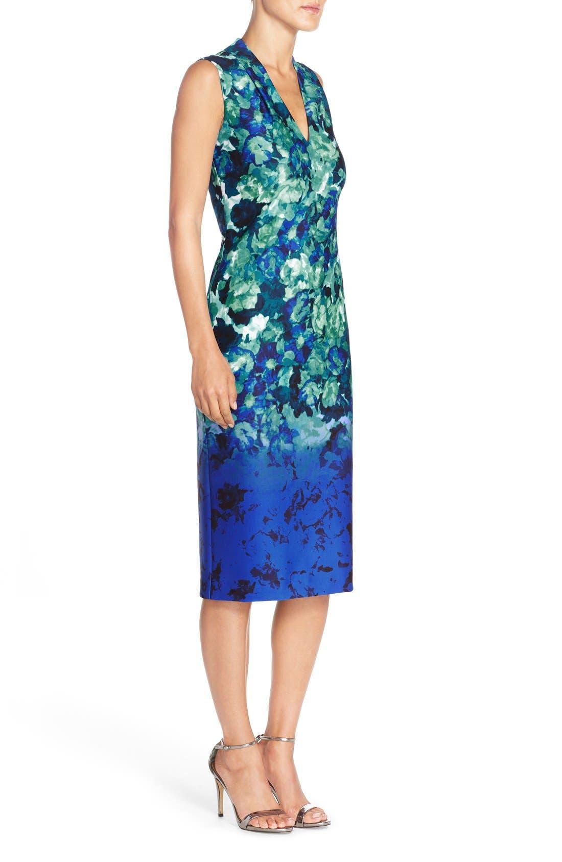 Alternate Image 3  - Vince Camuto Floral Print Scuba Midi Dress