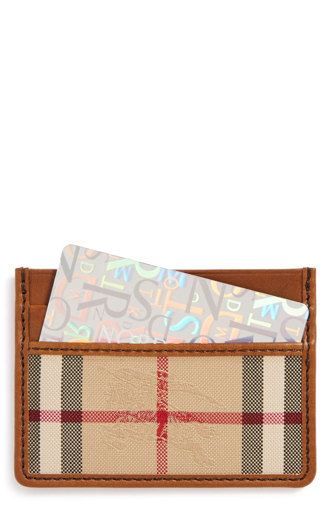 Alternate Image 1 Selected - Burberry Sandon Horseferry Check Card Case