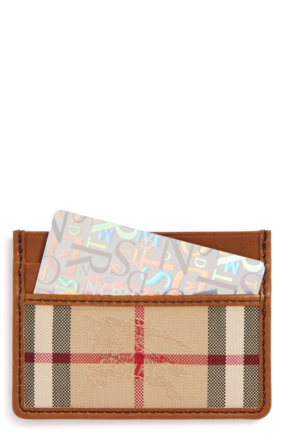 Sandon Horseferry Check Card Case,                         Main,                         color, Tan