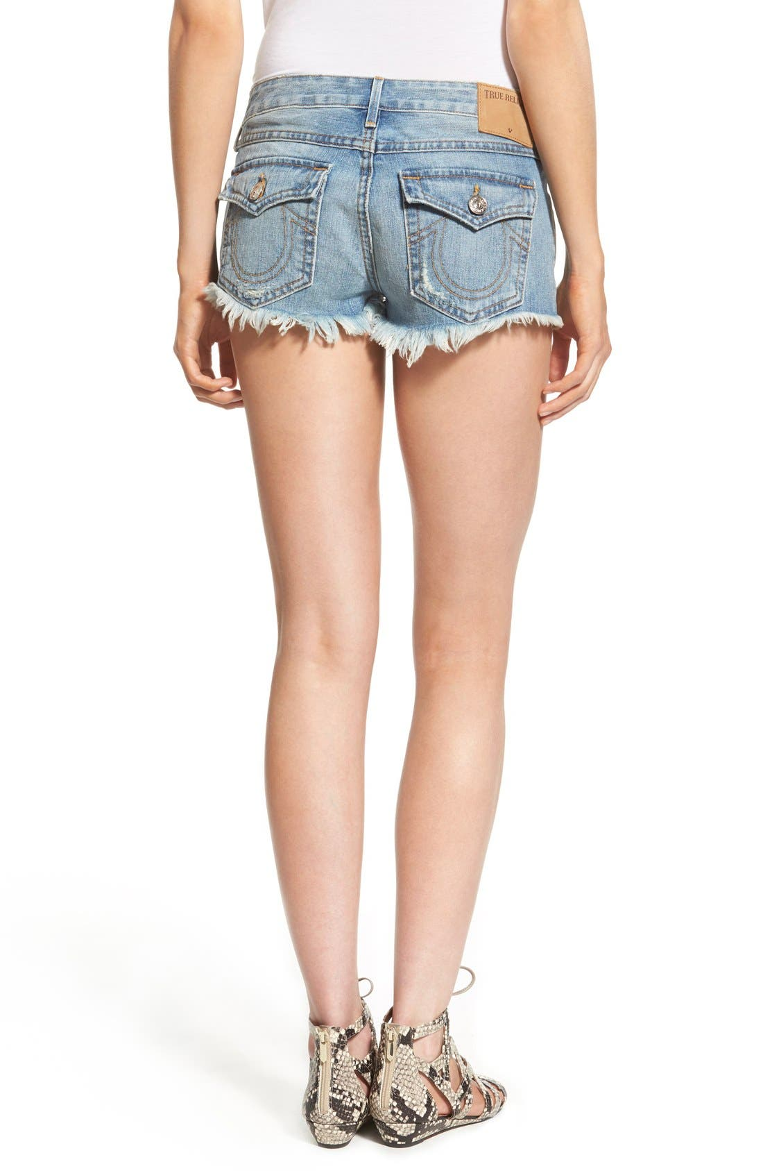 Alternate Image 2  - True Religion Brand Jeans Joey Flap Pocket Cutoff Shorts (Vintage True Destroyed)