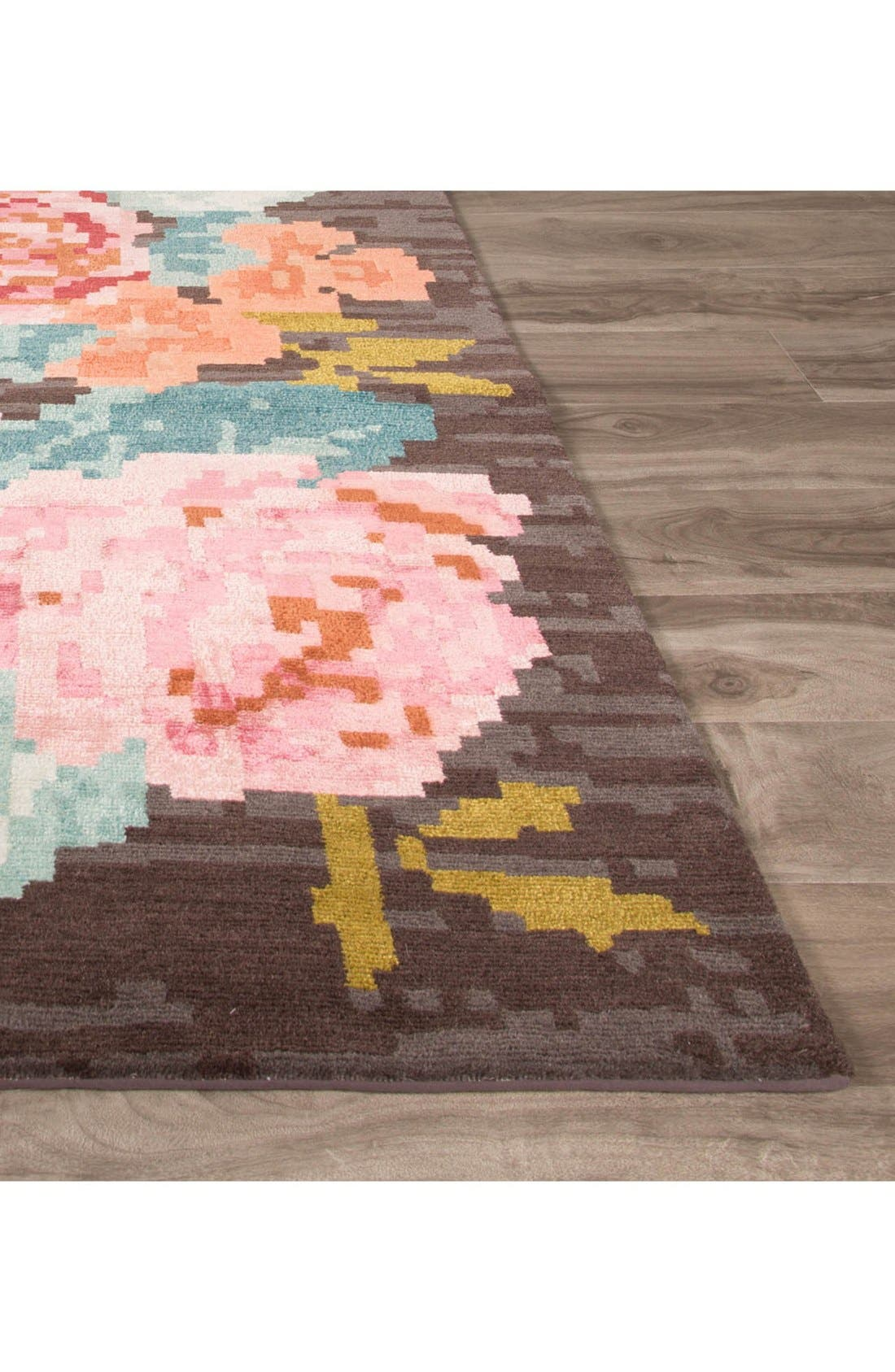 'murray - floral pattern' wool blend rug,                             Alternate thumbnail 2, color,                             Brown/ Pink