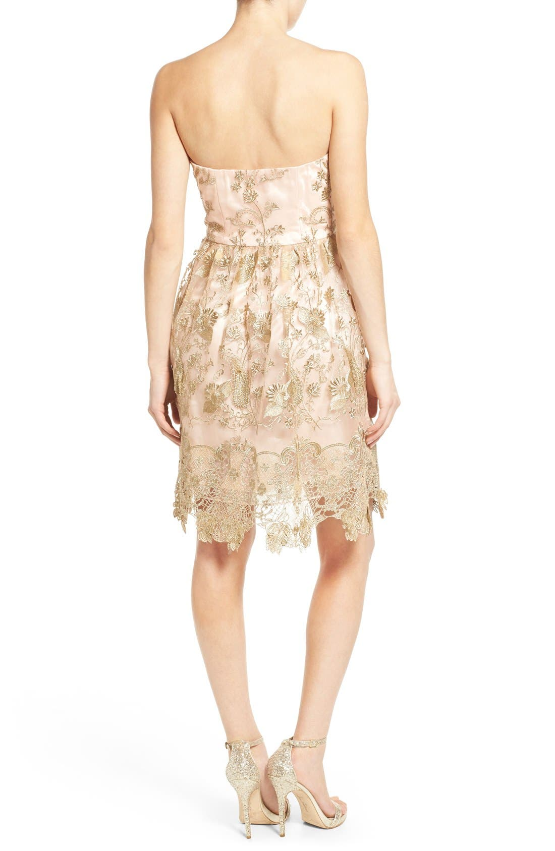Alternate Image 2  - a. drea Embroidered Lace Strapless Dress