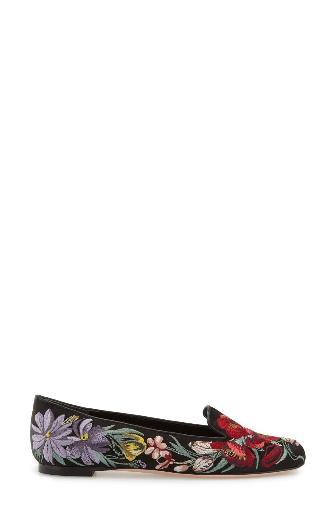 Alternate Image 4  - Alexander McQueen Embroidered Flower Loafer (Women)