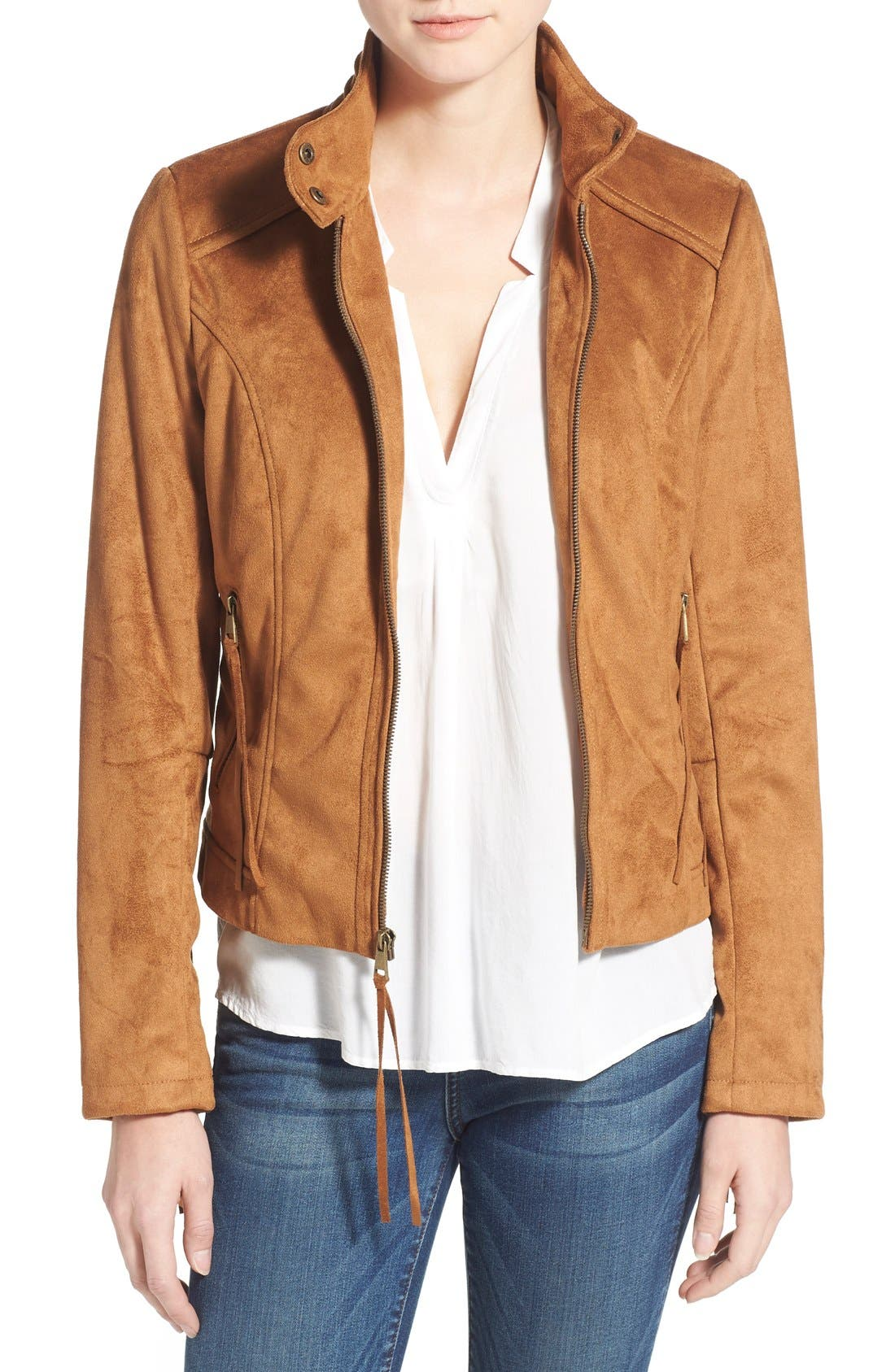 Main Image - French Connection Fringe Faux Suede Jacket