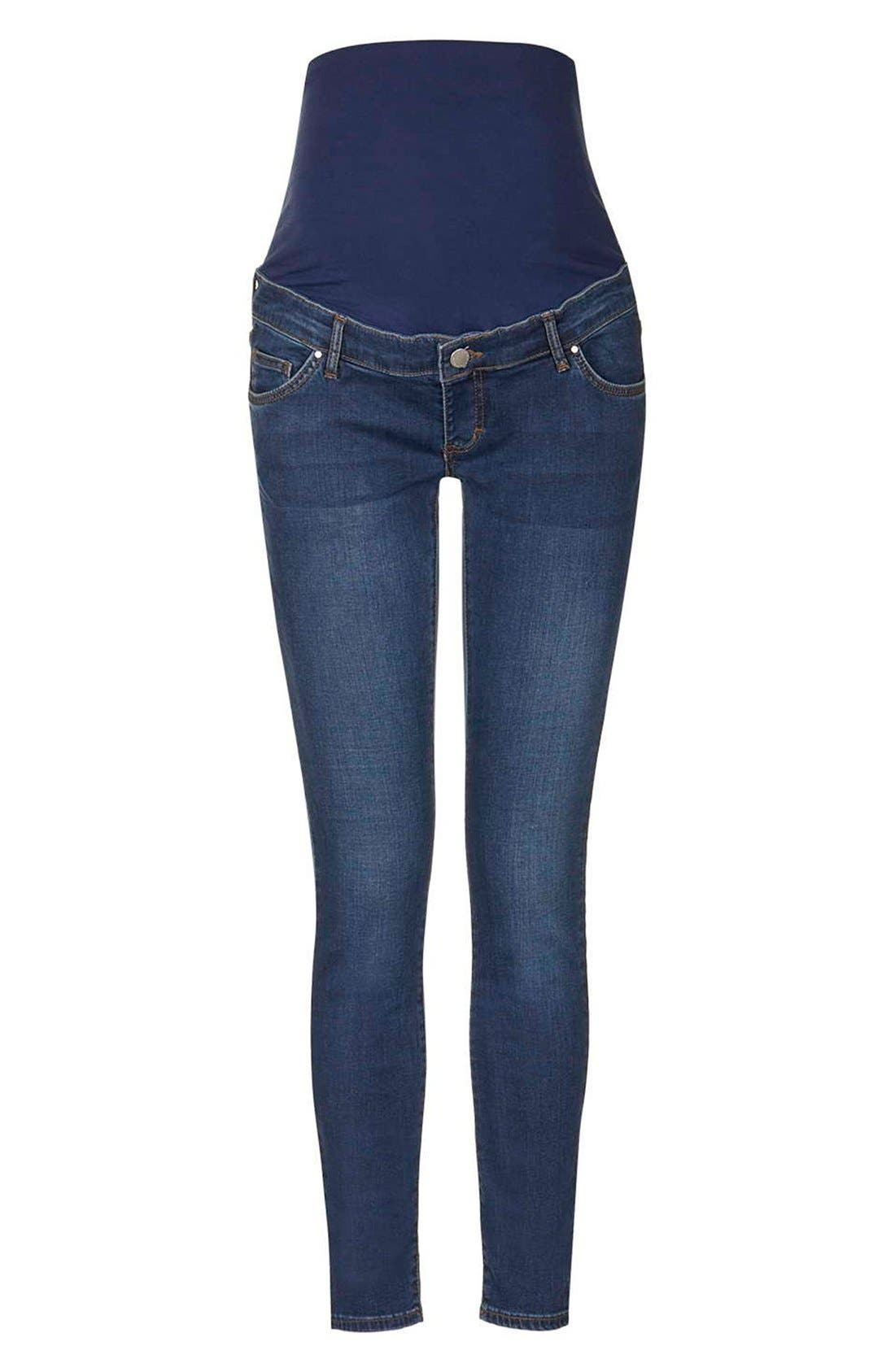'Leigh' Skinny Maternity Jeans,                             Main thumbnail 1, color,                             Dark Denim