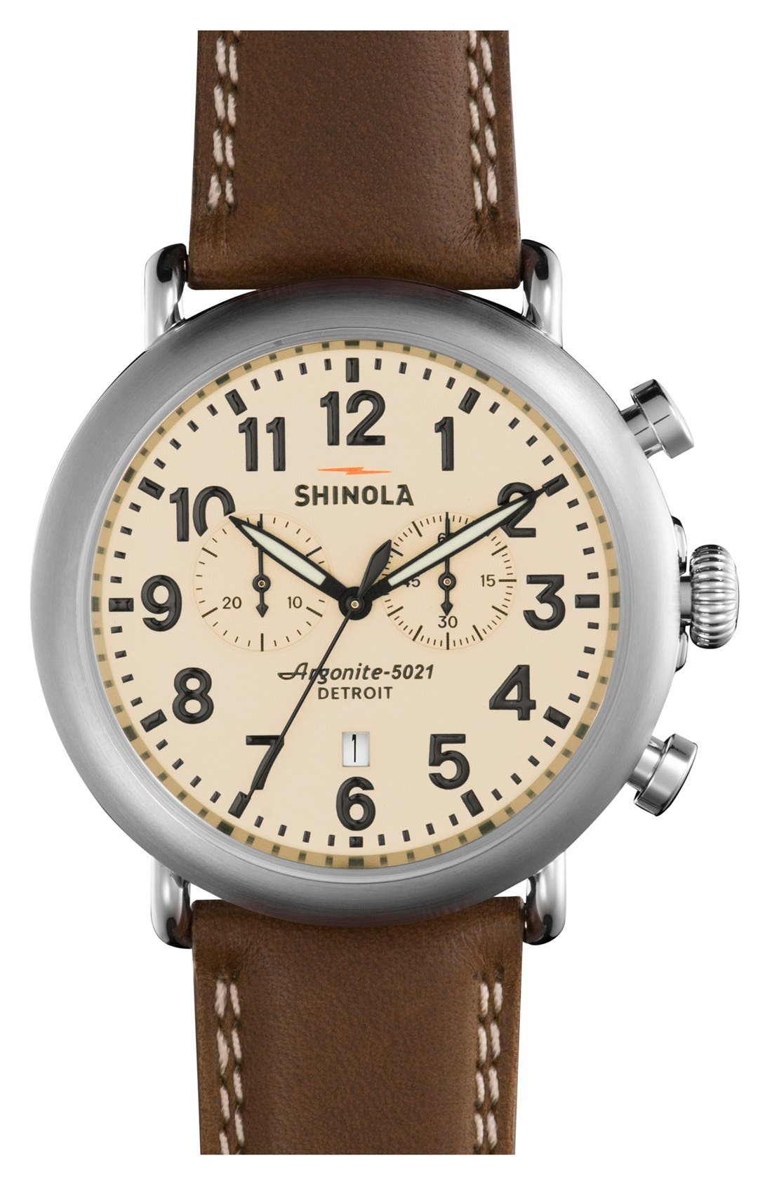 The Runwell Chrono Leather Strap Watch, 47mm,                             Main thumbnail 1, color,                             Dark Nut/ Cream