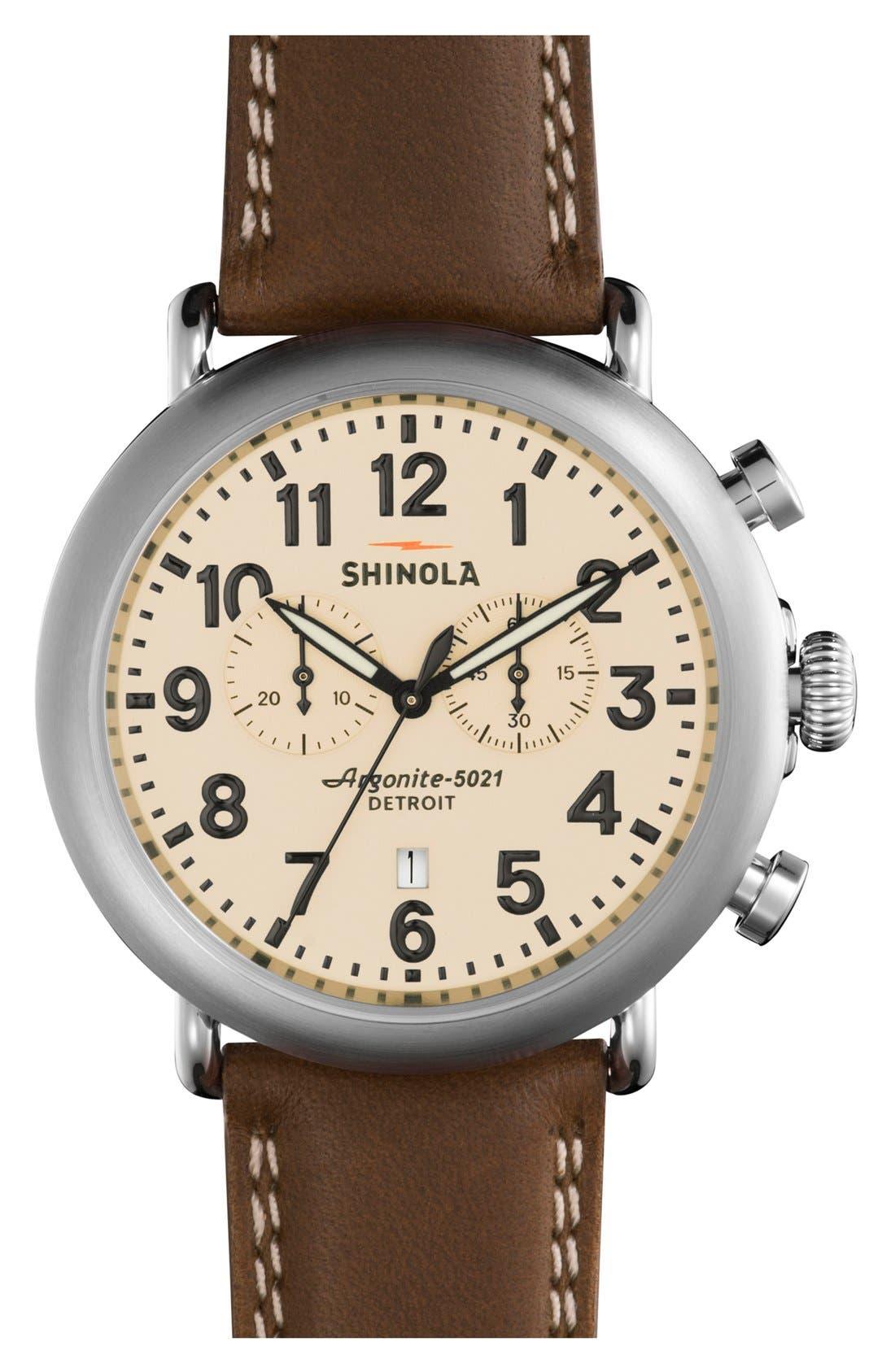 Alternate Image 1 Selected - Shinola The Runwell Chrono Leather Strap Watch, 47mm