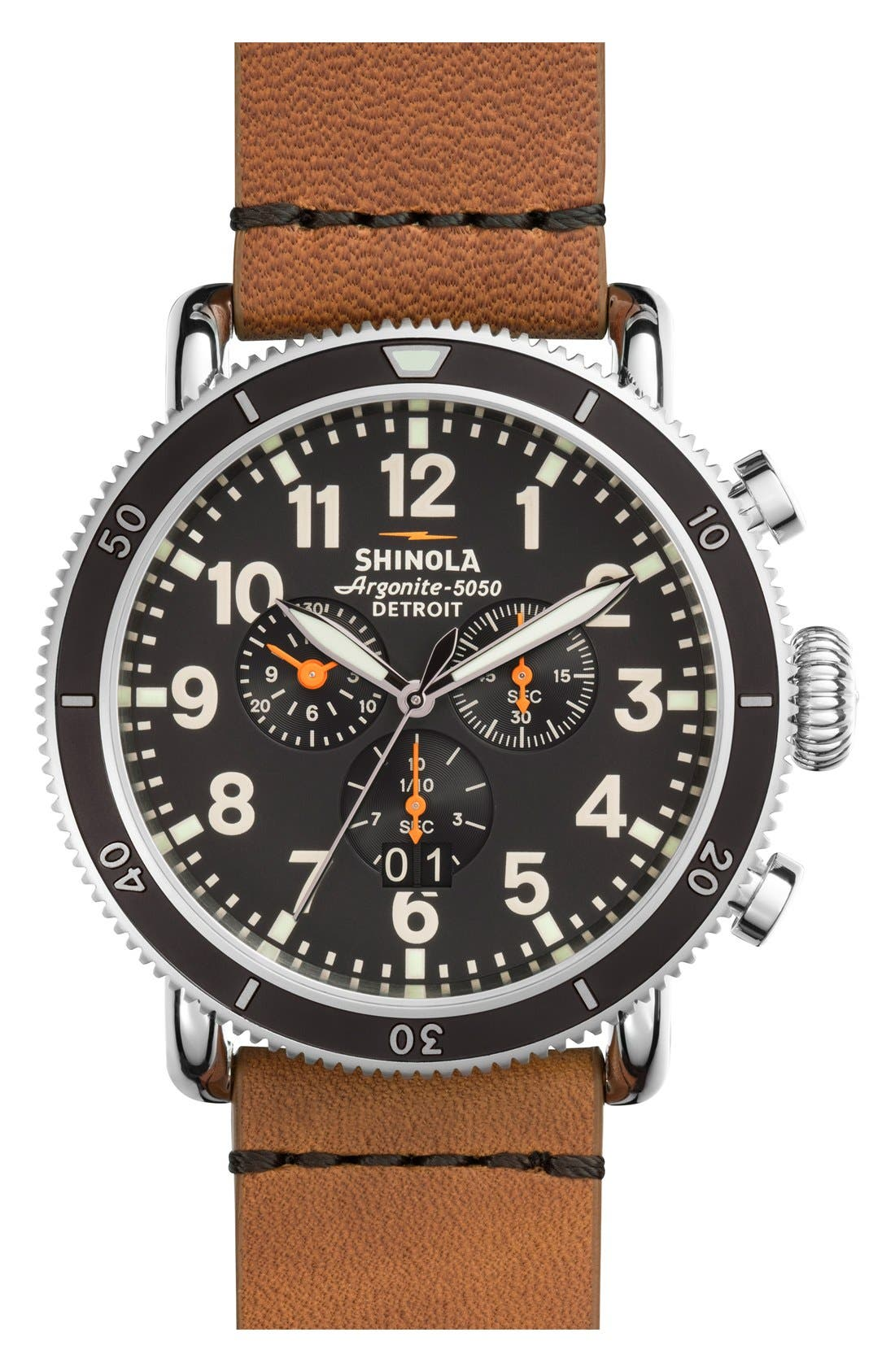 'The Runwell' Chronograph Leather Strap Watch, 48mm,                             Main thumbnail 1, color,                             Tan/ Black