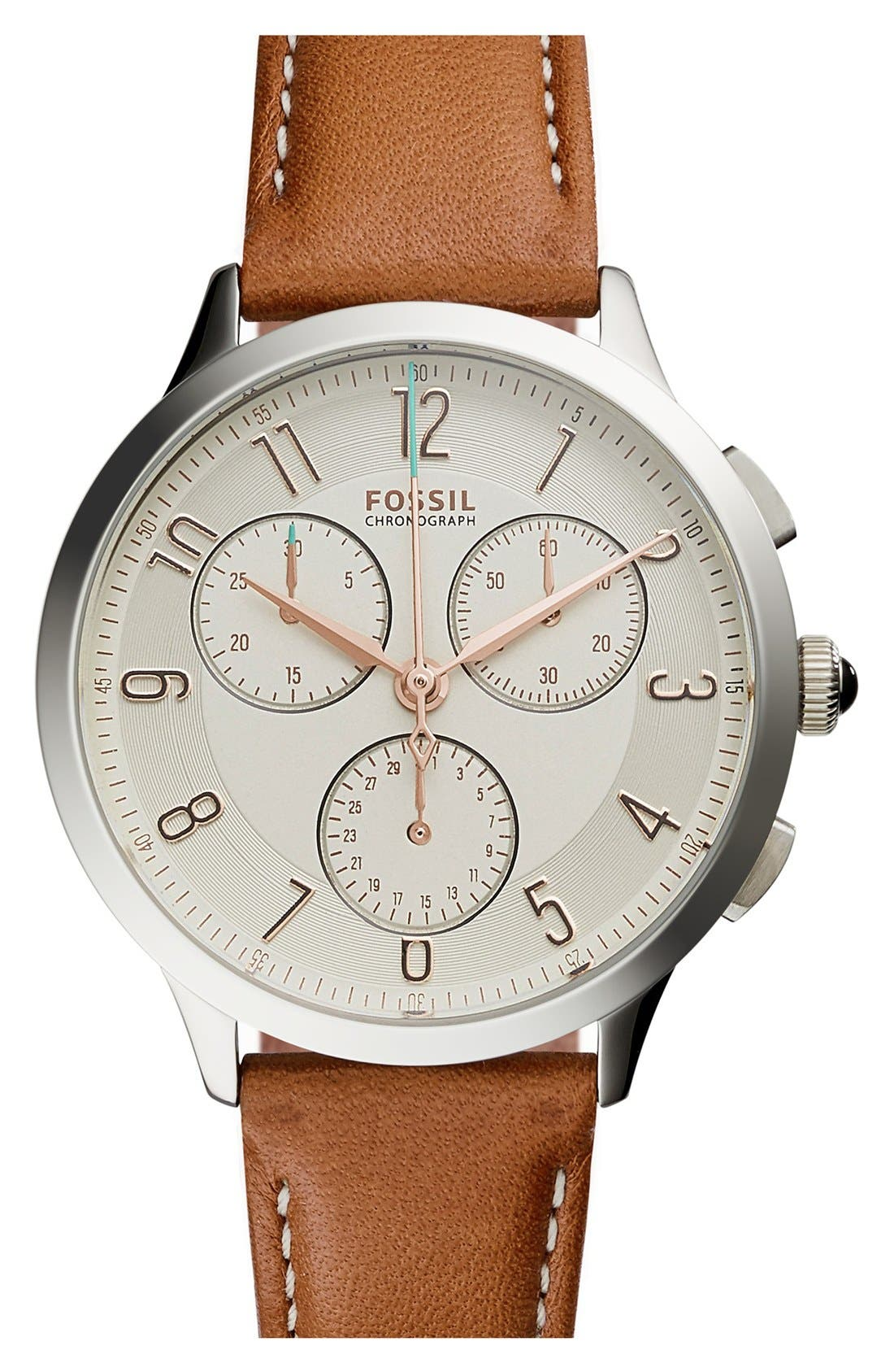 'Abilene' Chronograph Leather Strap Watch, 34mm,                         Main,                         color, Brown/ Silver